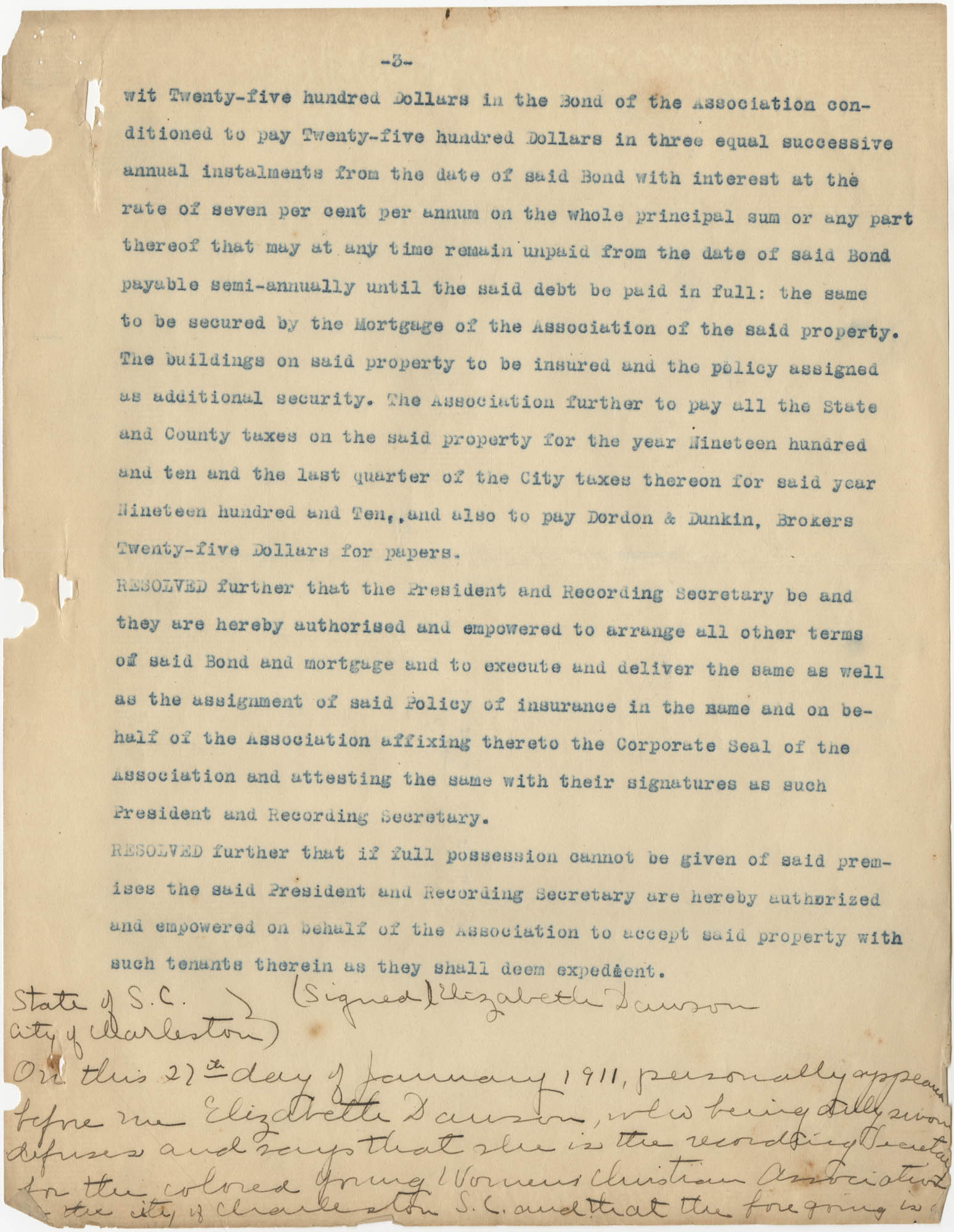 Minutes to the Coming Street Y.W.C.A. Meeting, January 23, 1911, Page 3