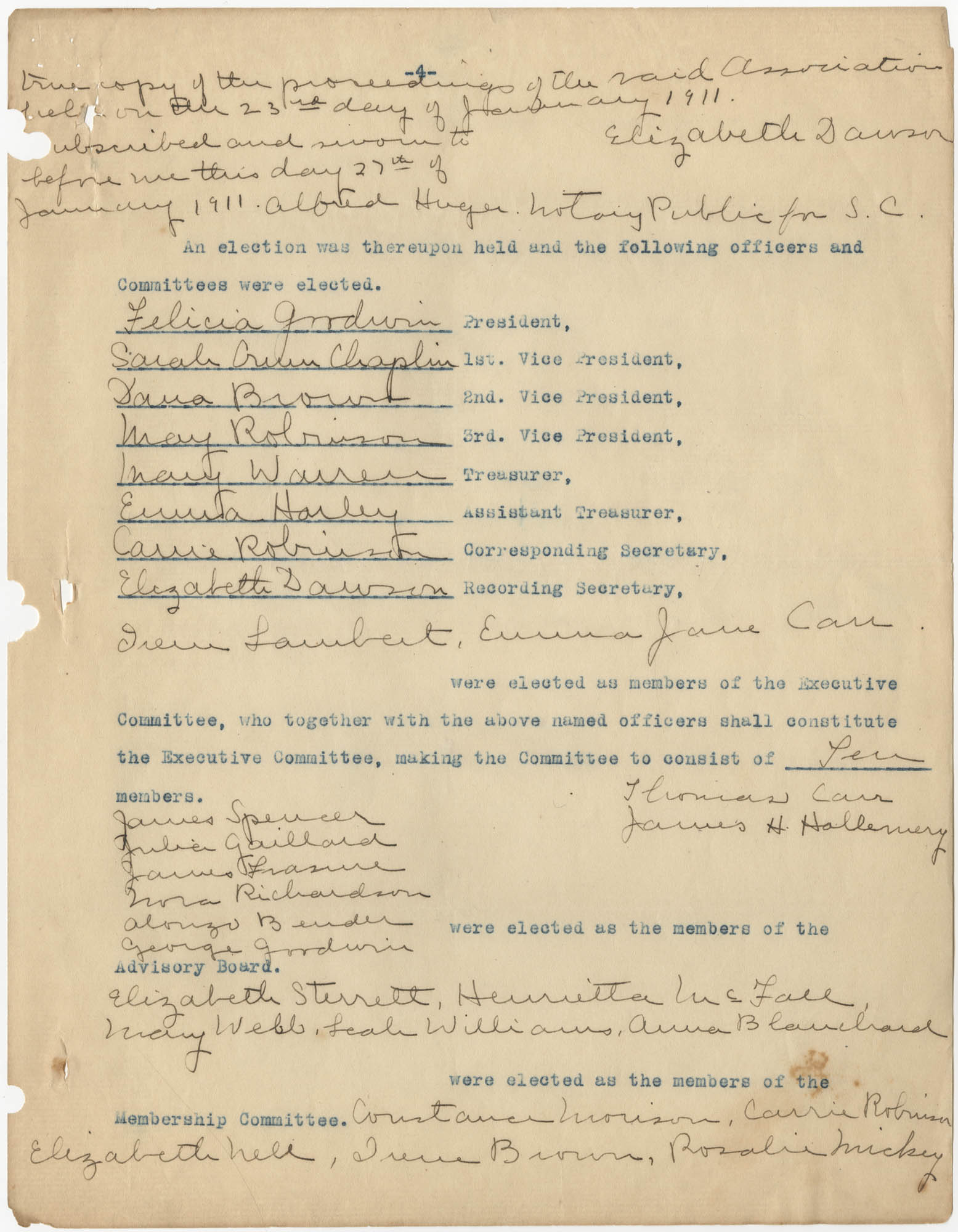 Minutes to the Coming Street Y.W.C.A. Meeting, January 23, 1911, Page 4