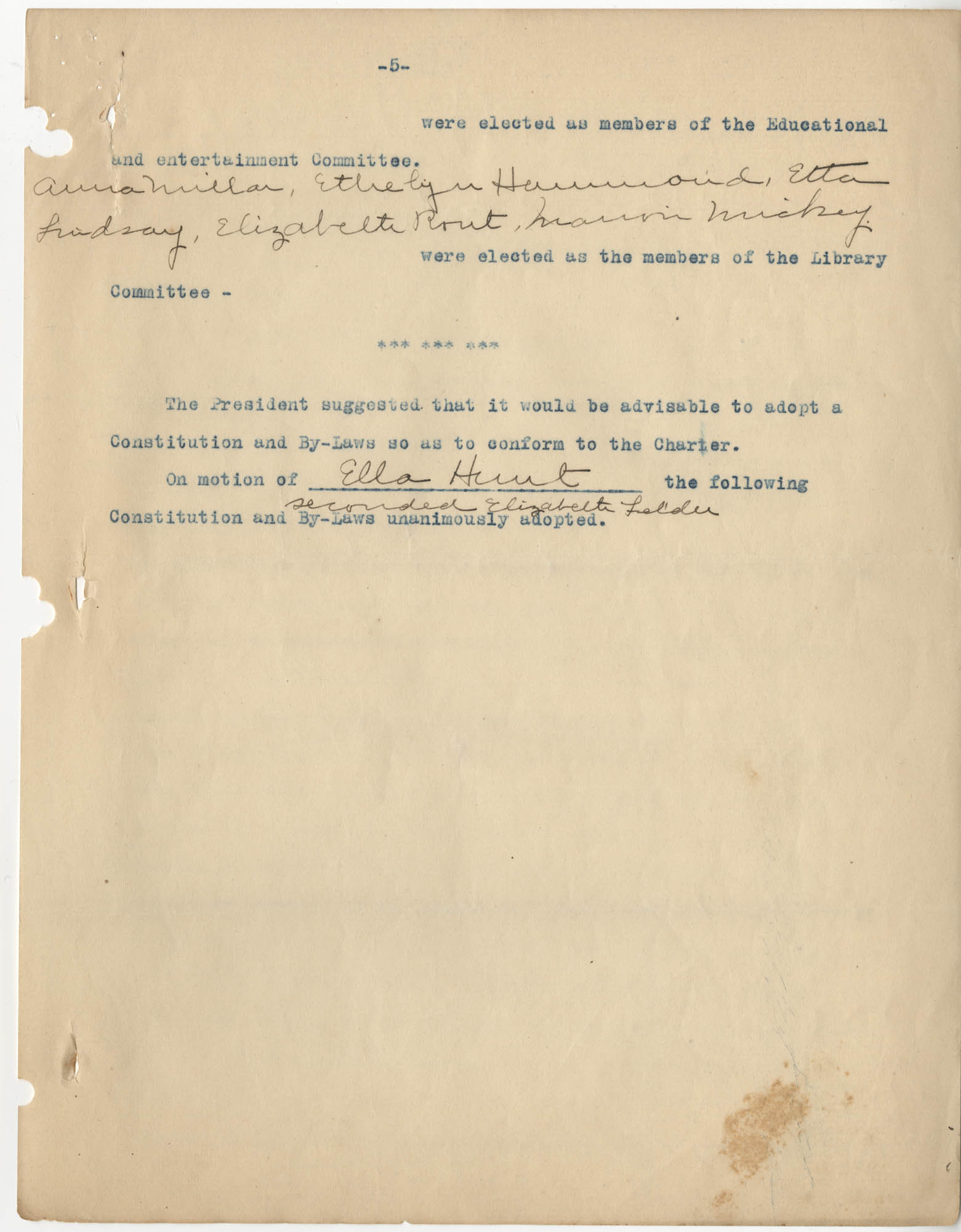 Minutes to the Coming Street Y.W.C.A. Meeting, January 23, 1911, Page 5