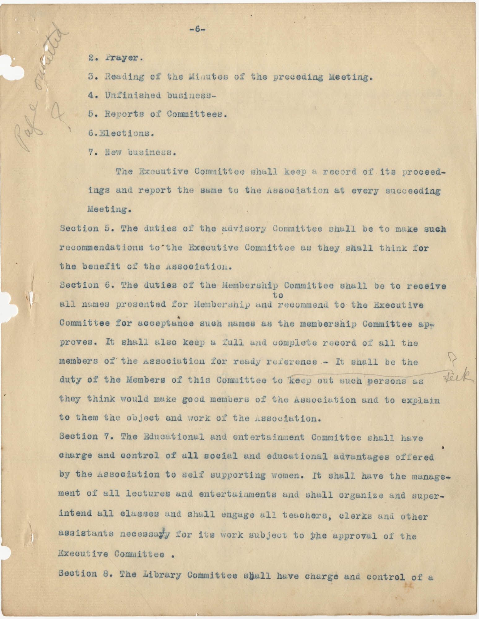 Minutes to the Coming Street Y.W.C.A. Meeting, January 23, 1911, Page 6