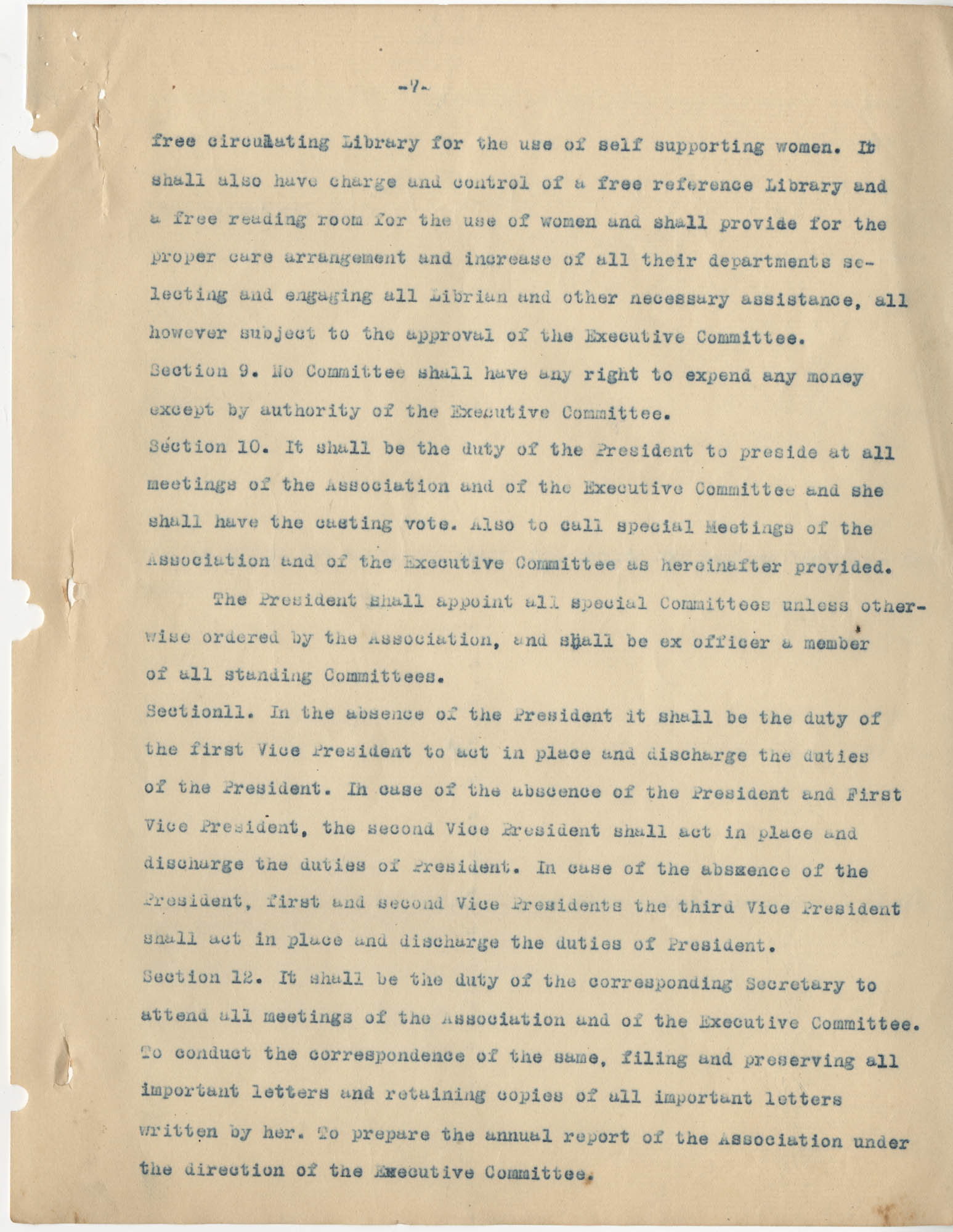 Minutes to the Coming Street Y.W.C.A. Meeting, January 23, 1911, Page 7