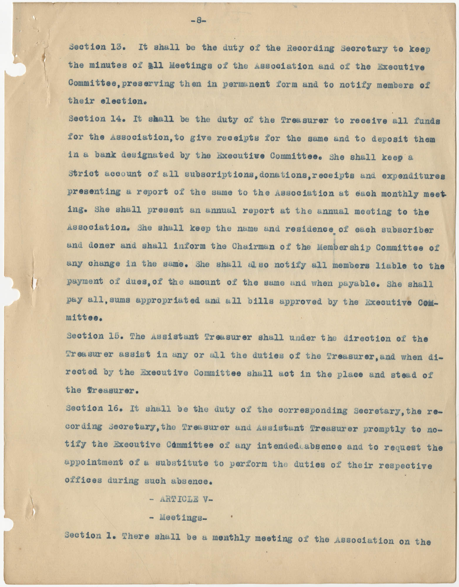 Minutes to the Coming Street Y.W.C.A. Meeting, January 23, 1911, Page 8