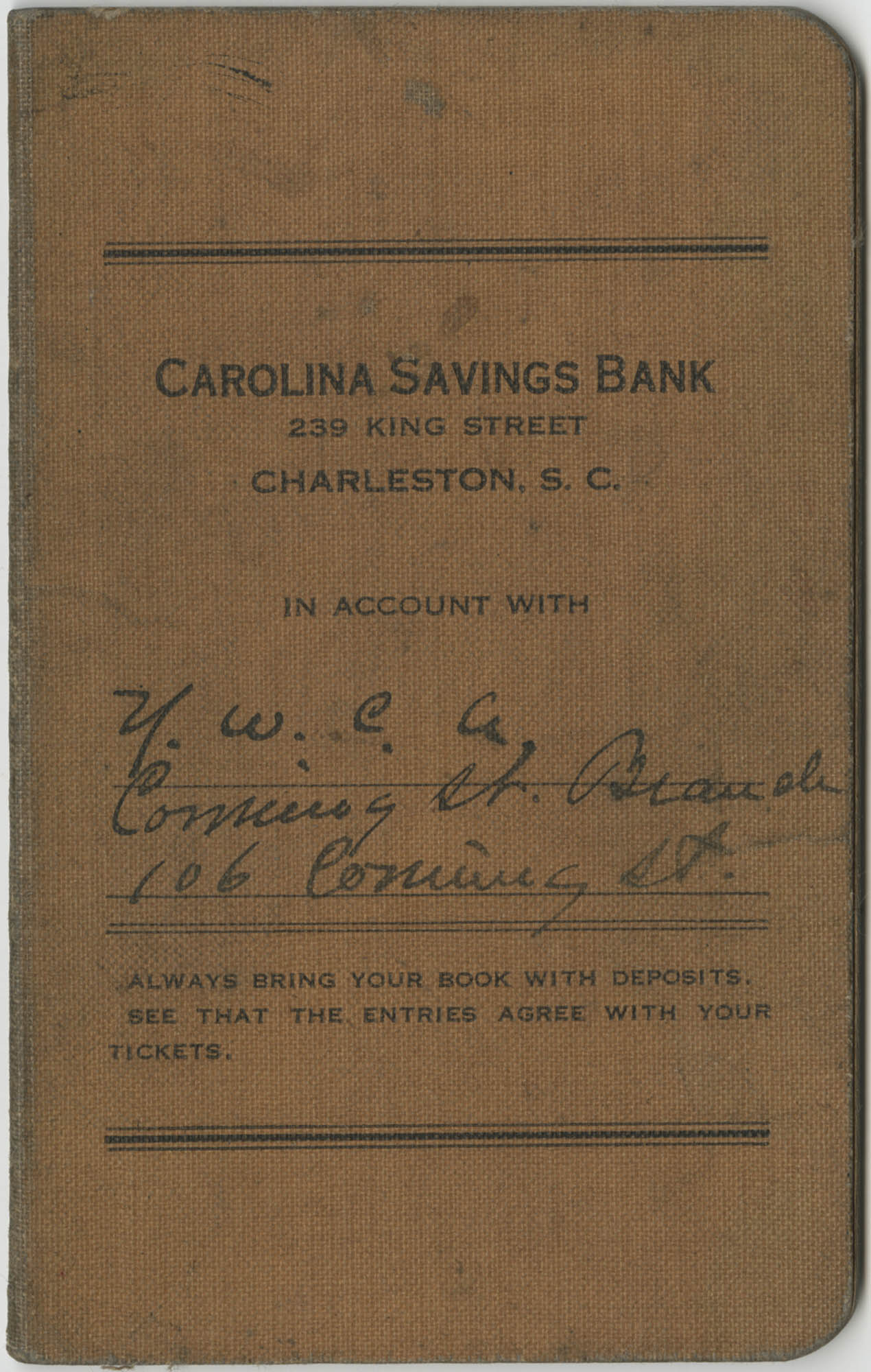 Carolina Savings Bank Account Book for the Y.W.C.A., Coming Street Branch, Front Cover