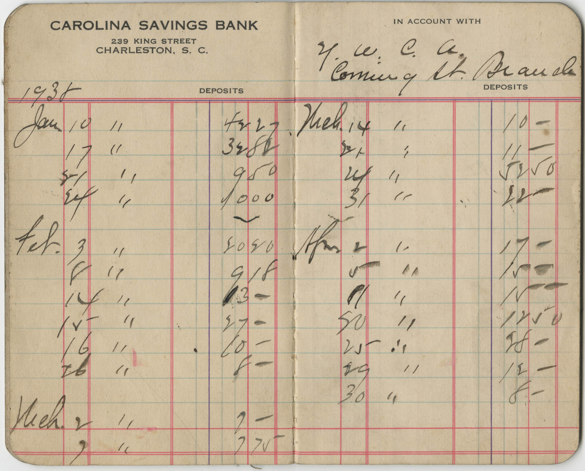 Carolina Savings Bank Account Book for the Y.W.C.A., Coming Street Branch, Pages 1 and 2