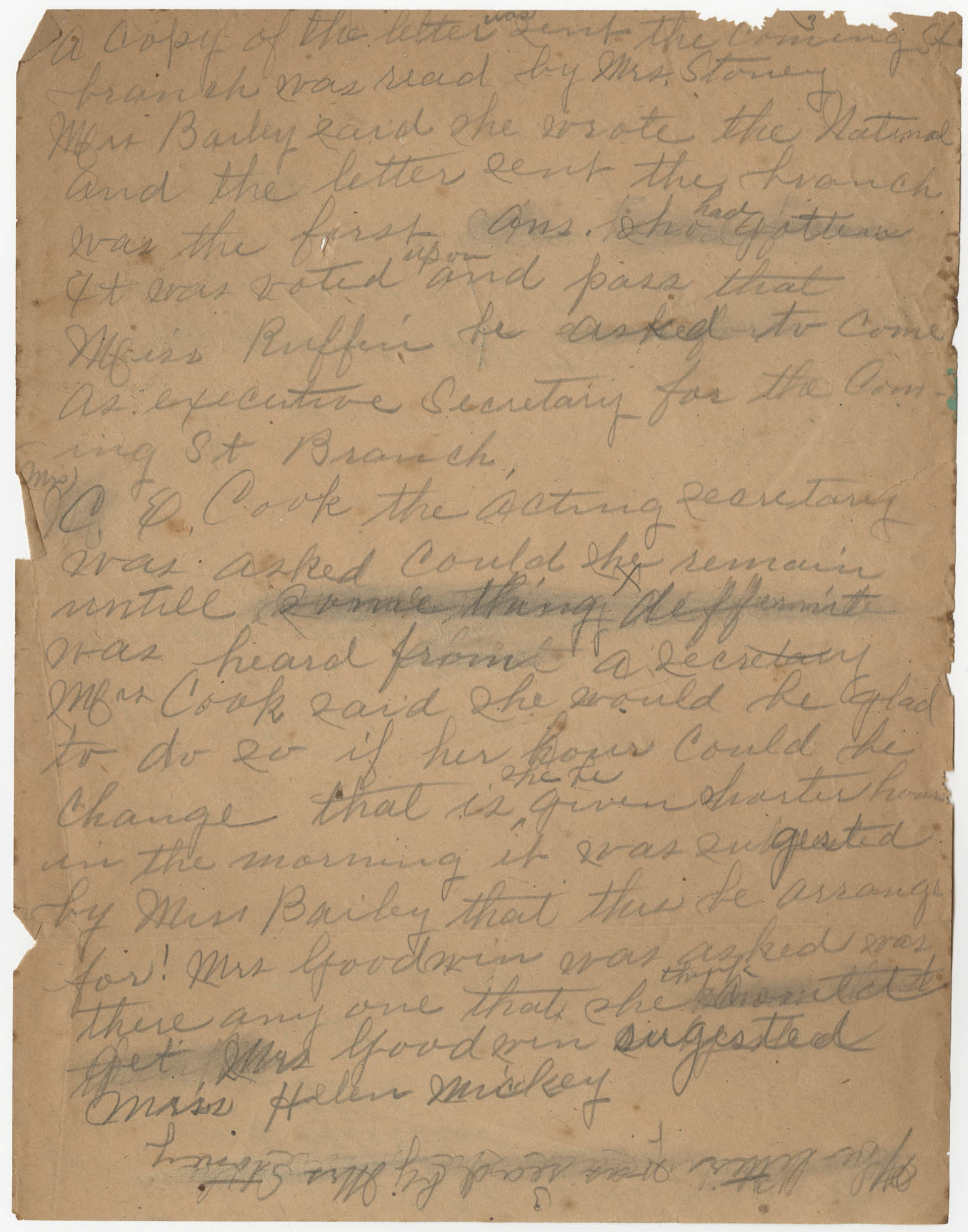 Minutes, Coming Street Y.W.C.A., 1925