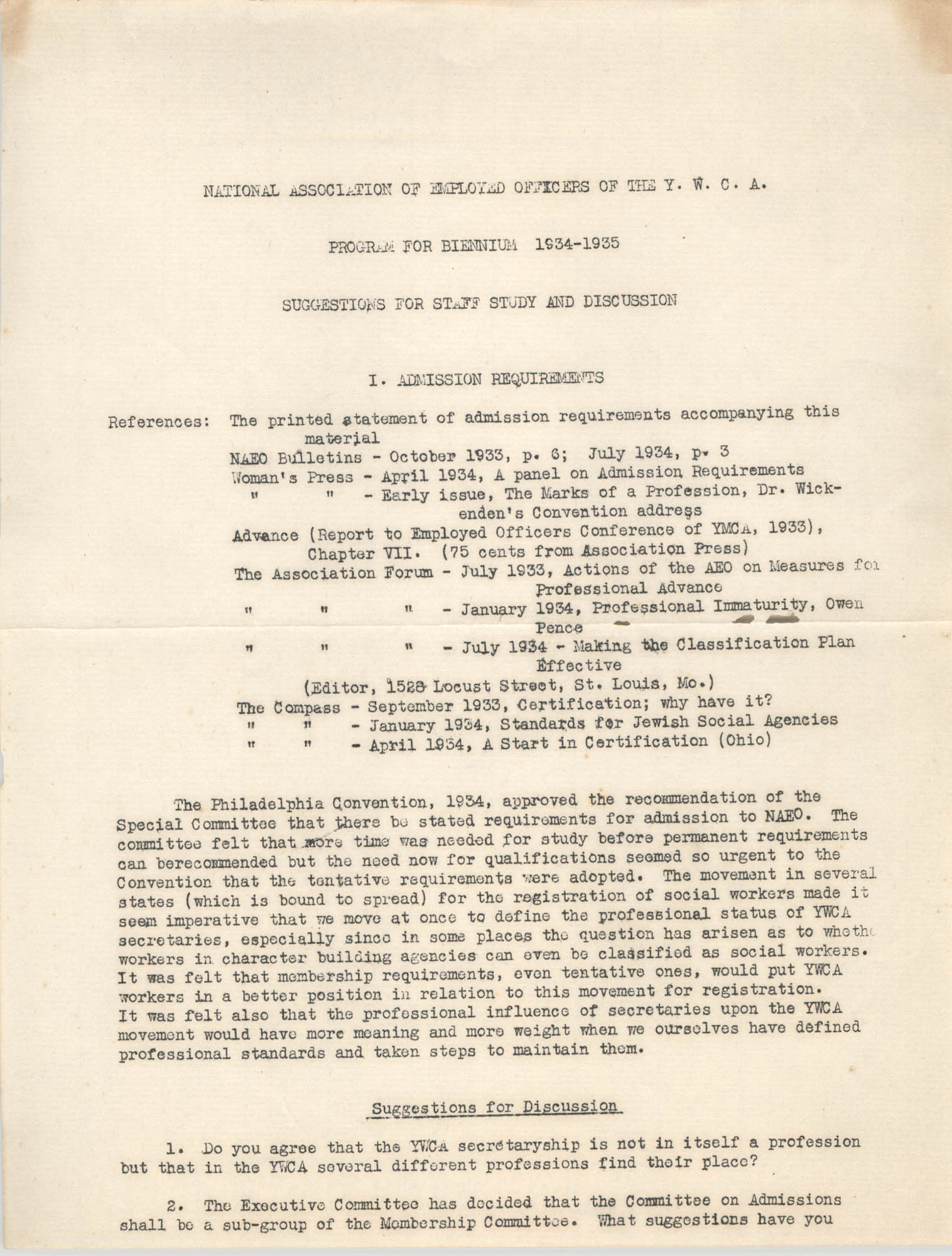 National Association of Employed Officers of the Y.W.C.A. Program for Biennium, 1934-1935, Page 1