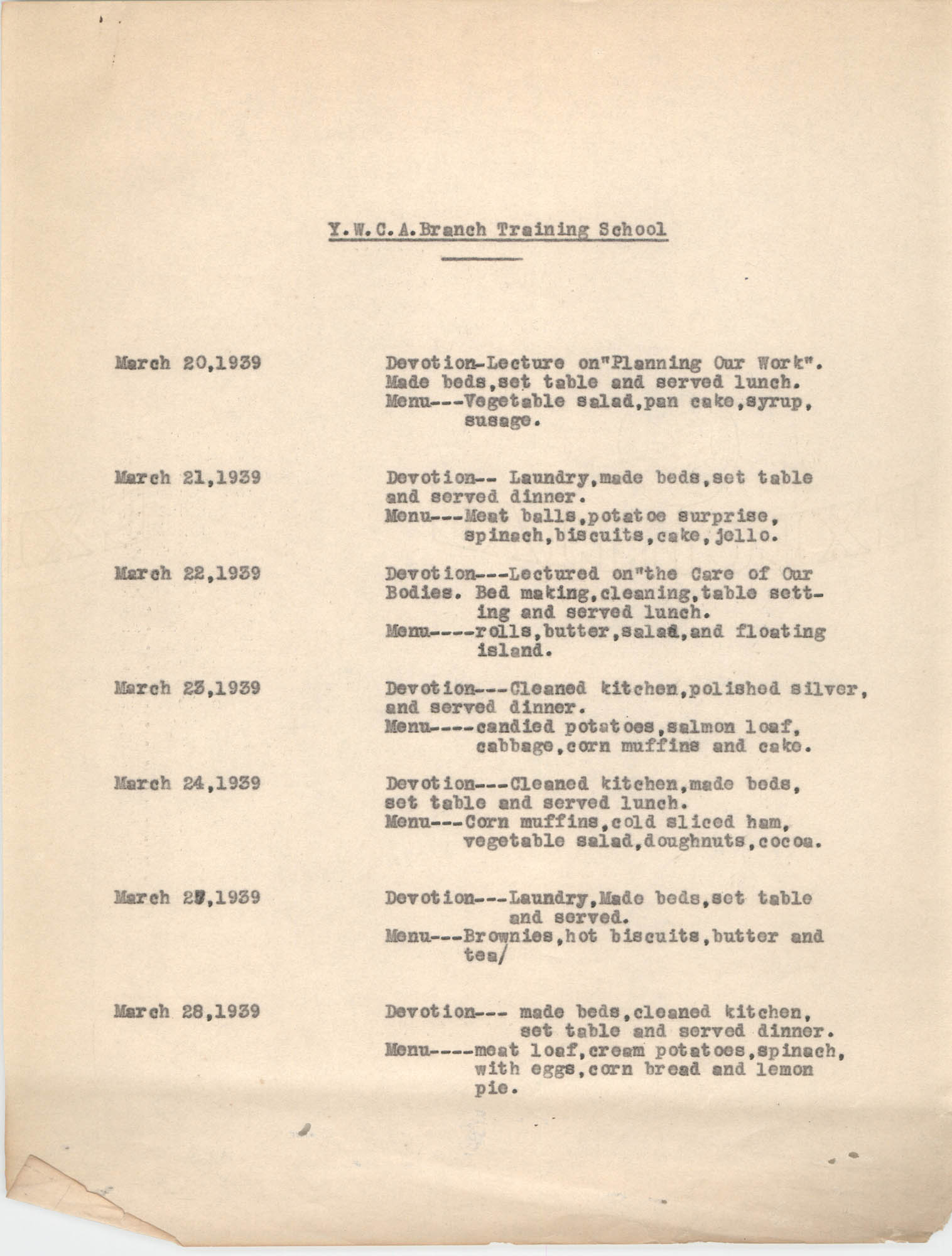 Monthly Report for the Coming Street Y.W.C.A., March 1939, Branch Training School, Page 1