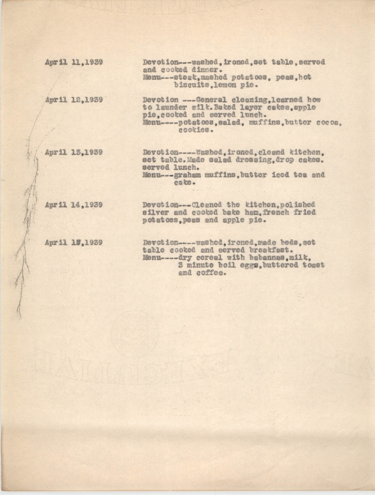 Monthly Report for the Coming Street Y.W.C.A., March 1939, Branch Training School, Page 3