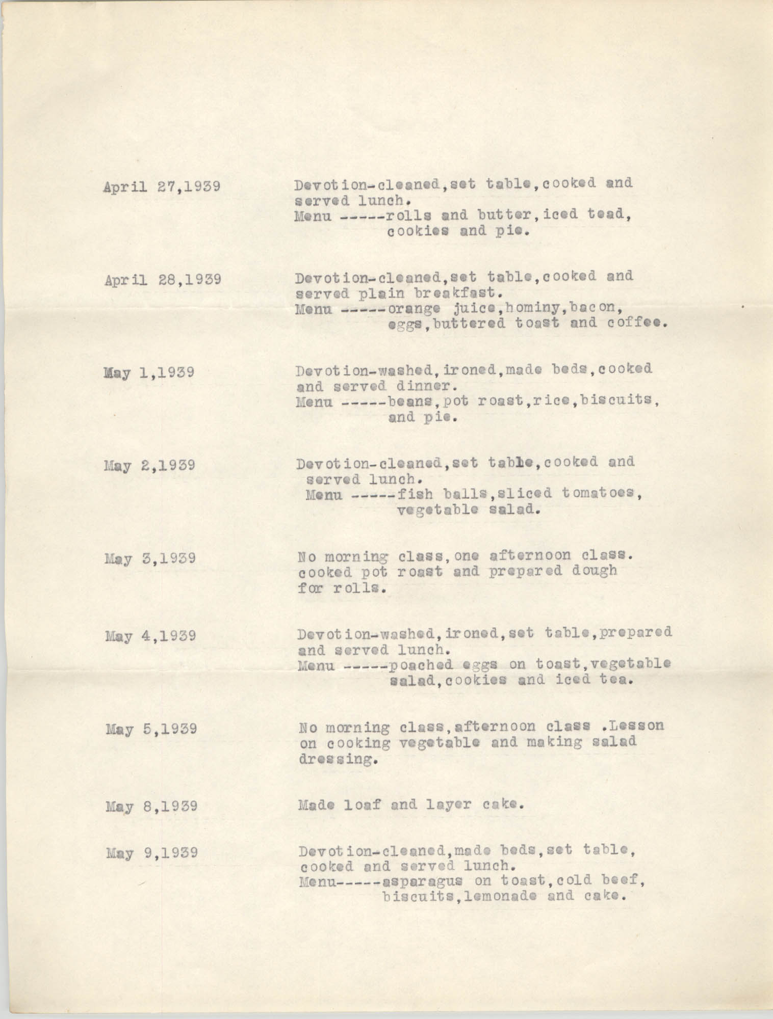 Monthly Report for the Coming Street Y.W.C.A., April 1939, Branch Training School, Page 2