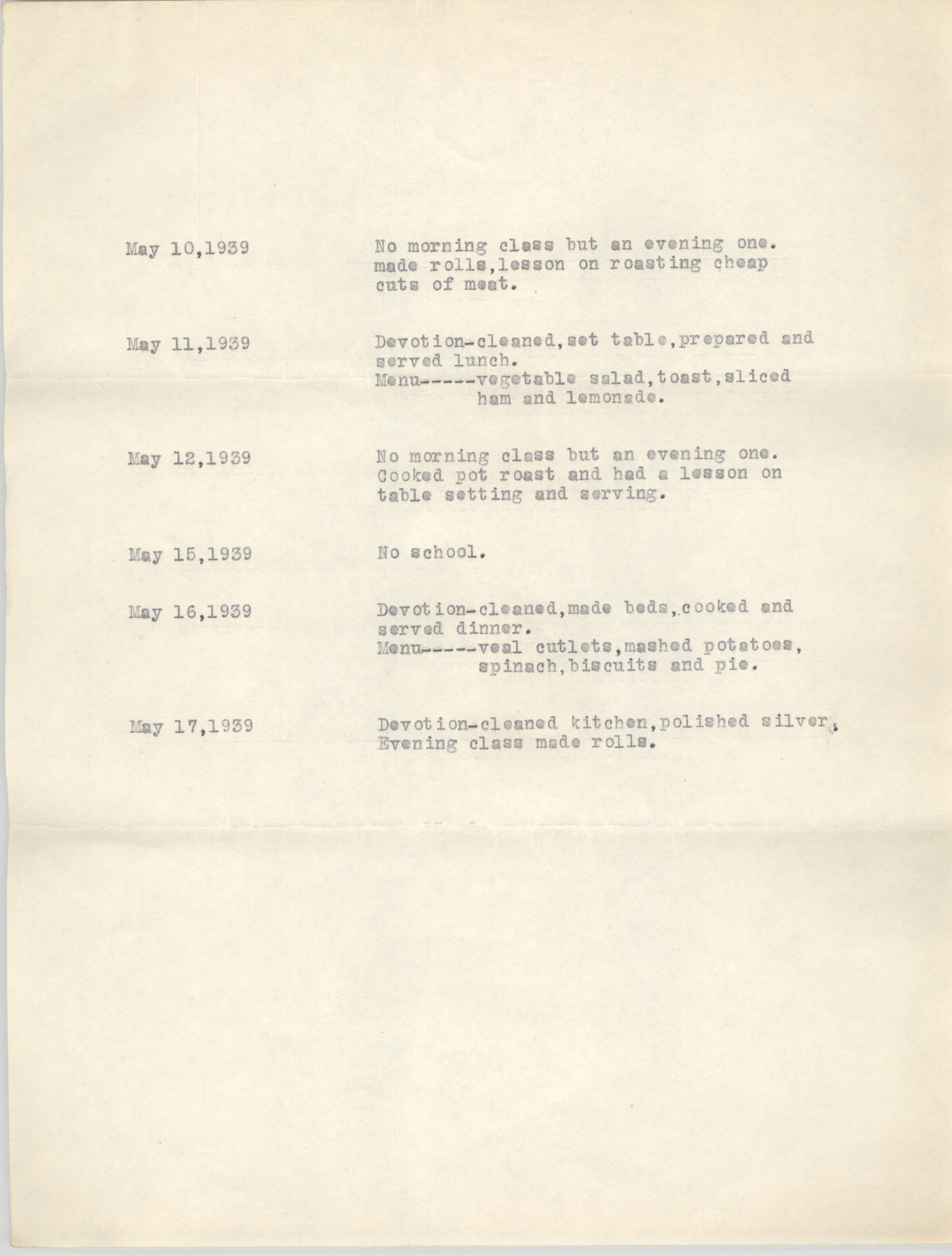 Monthly Report for the Coming Street Y.W.C.A., April 1939, Branch Training School, Page 3