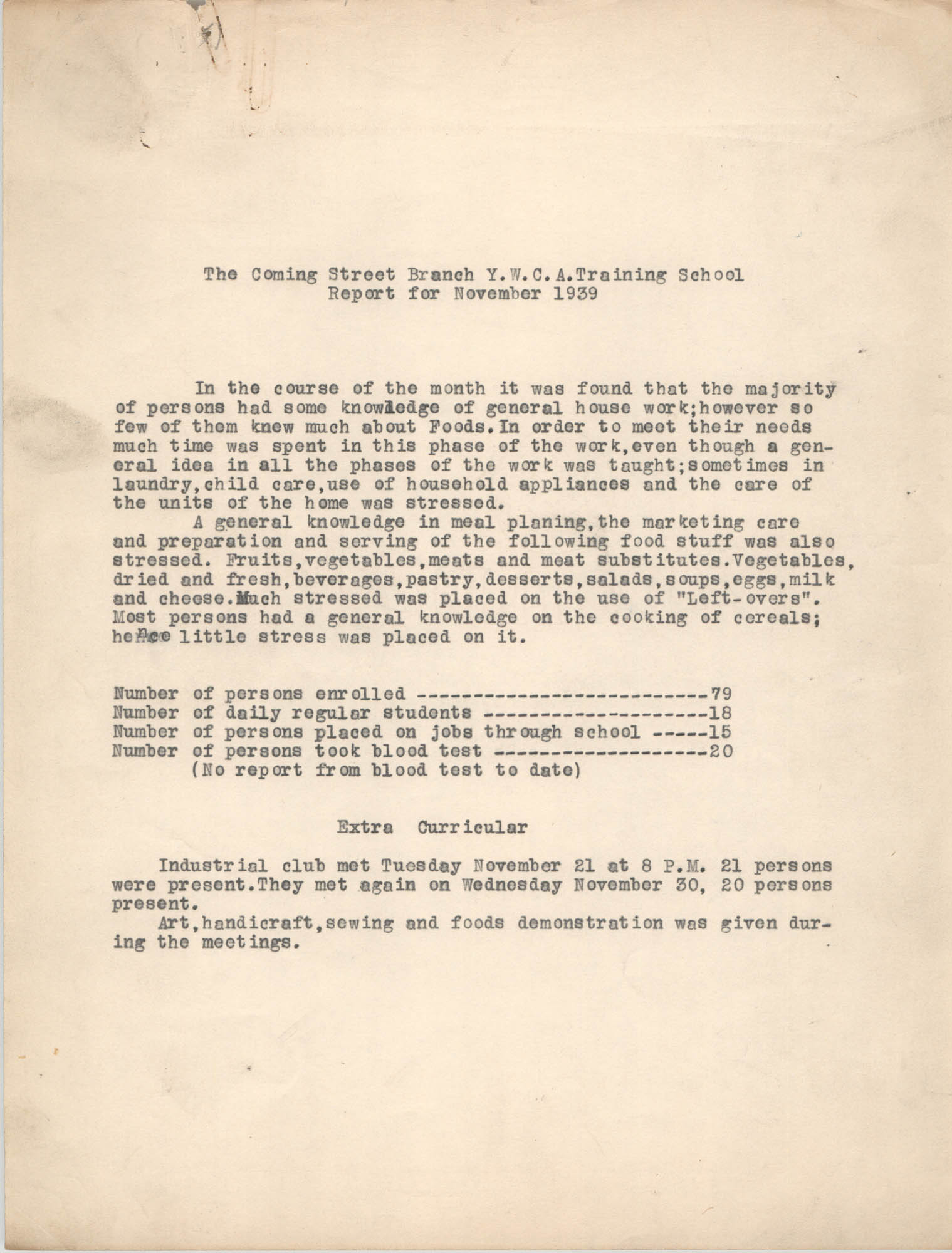 Coming Street Y.W.C.A., Training School Report for November 1939