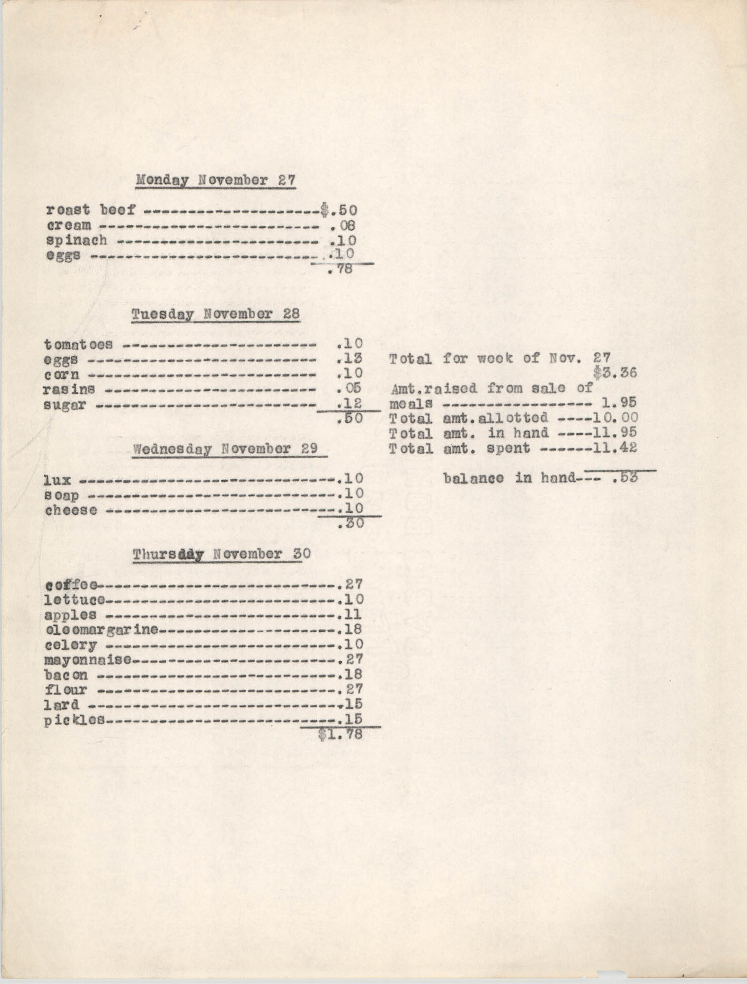 Monthly Report for the Coming Street Y.W.C.A., Expenses for November 1939, Page 4