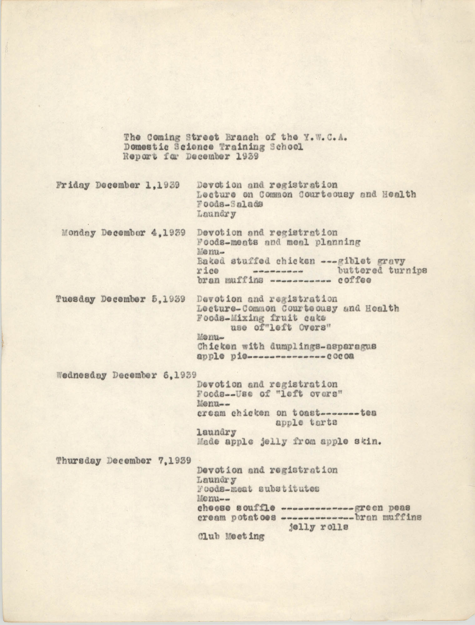 Monthly Report for the Coming Street Y.W.C.A., Domestic Science Training School, December 1939, Page 1