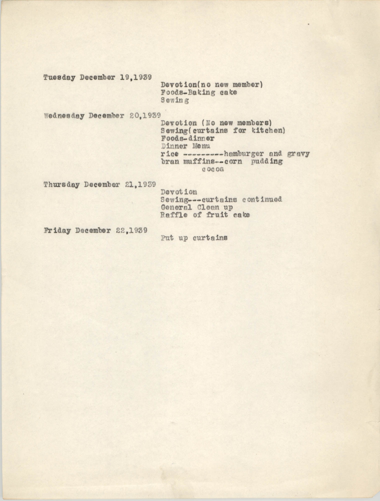 Monthly Report for the Coming Street Y.W.C.A., Domestic Science Training School, December 1939, Page 3
