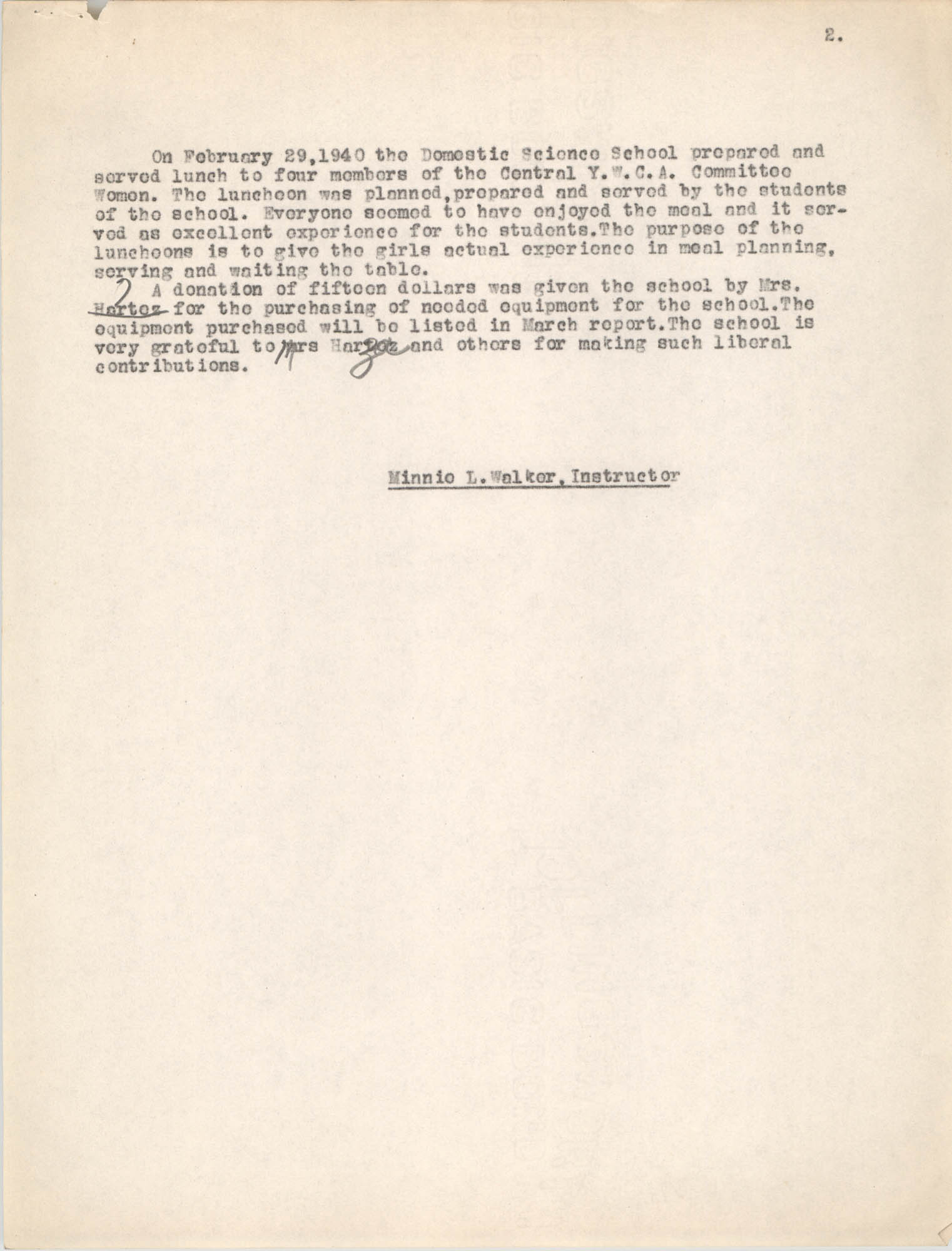 Monthly Training School Report for the Coming Street Y.W.C.A., February 1940, Page 2