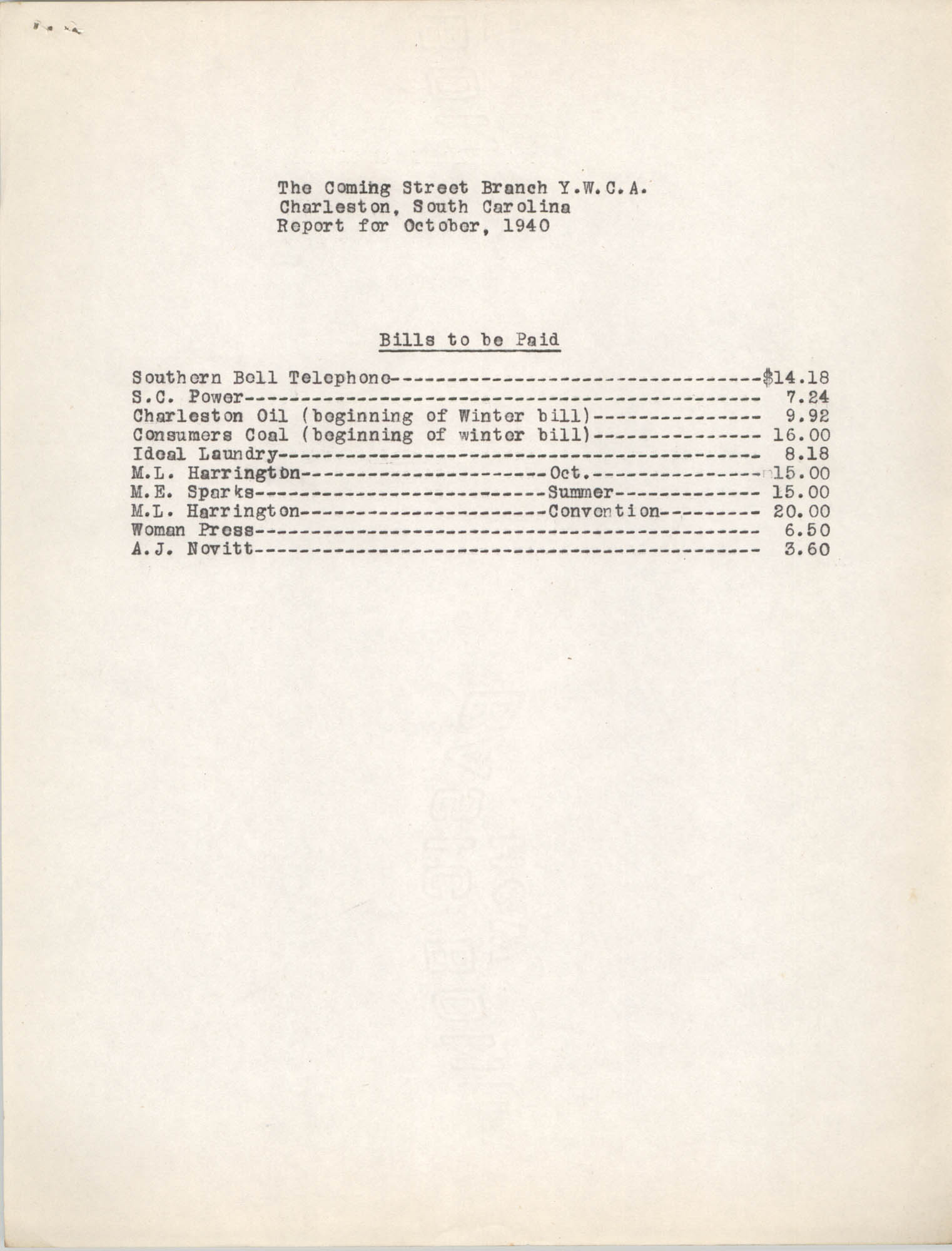 Monthly Report for the Coming Street Y.W.C.A., Employment and Groups, October 1940, Page 3