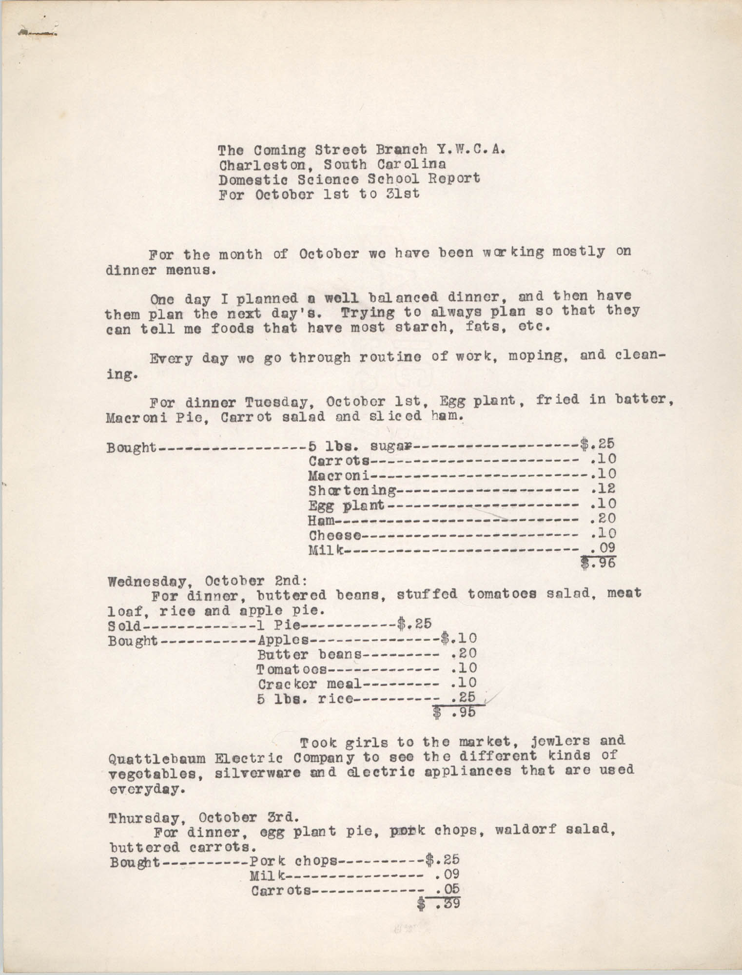 Monthly Report for the Coming Street Y.W.C.A., Domestic Science School, October 1940, Page 1