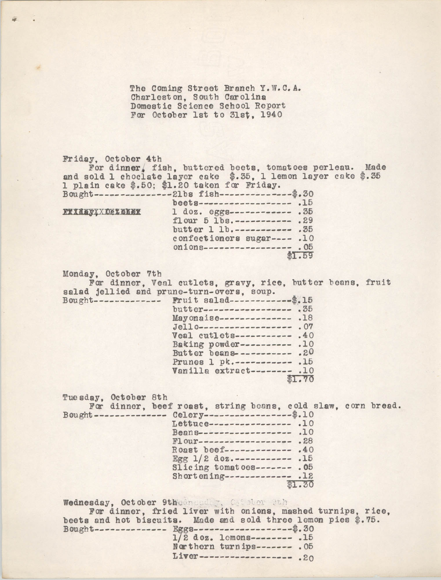Monthly Report for the Coming Street Y.W.C.A., Domestic Science School, October 1940, Page 2