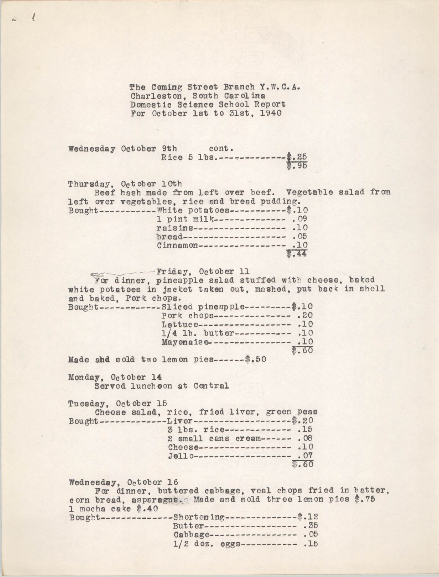 Monthly Report for the Coming Street Y.W.C.A., Domestic Science School, October 1940, Page 3
