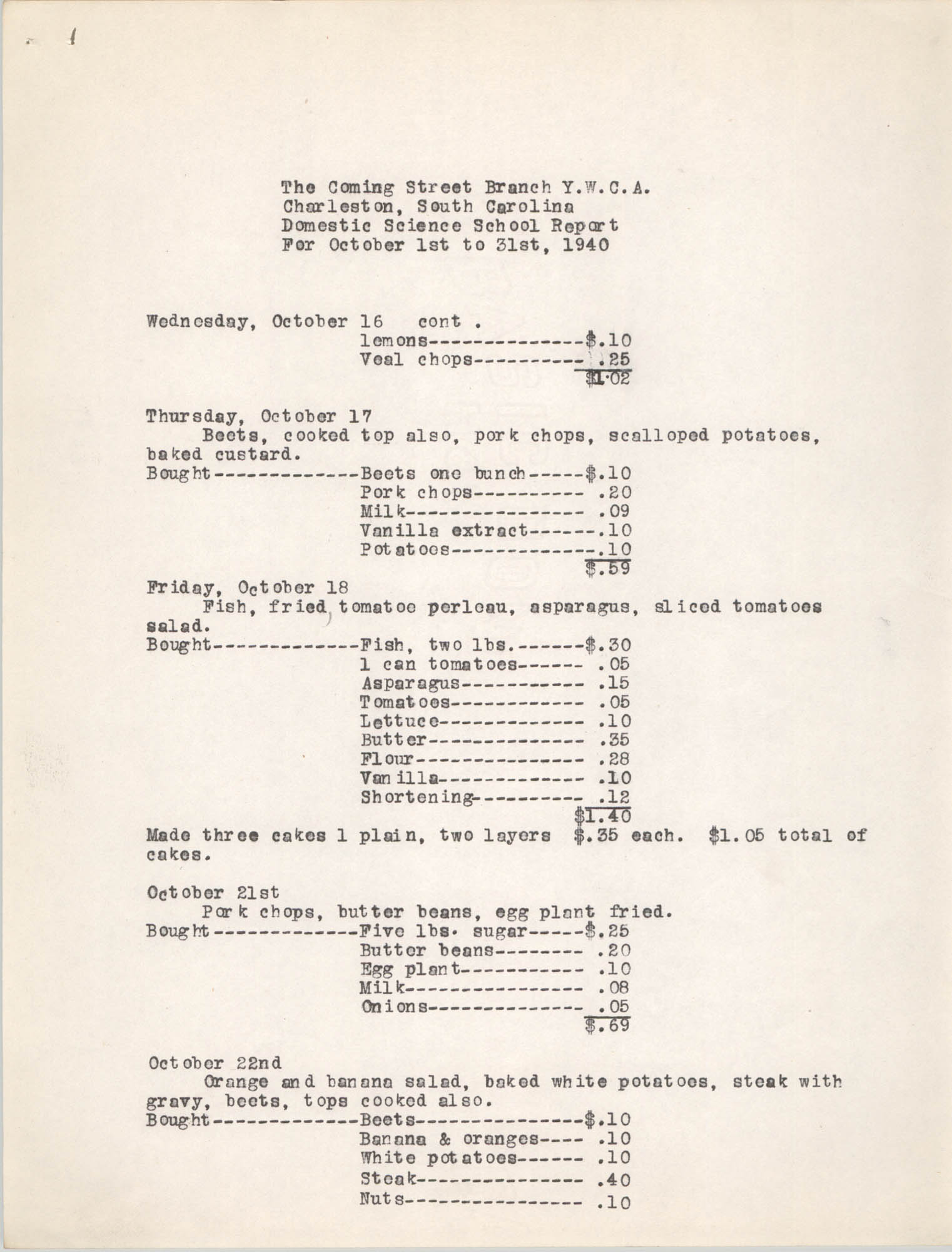 Monthly Report for the Coming Street Y.W.C.A., Domestic Science School, October 1940, Page 4
