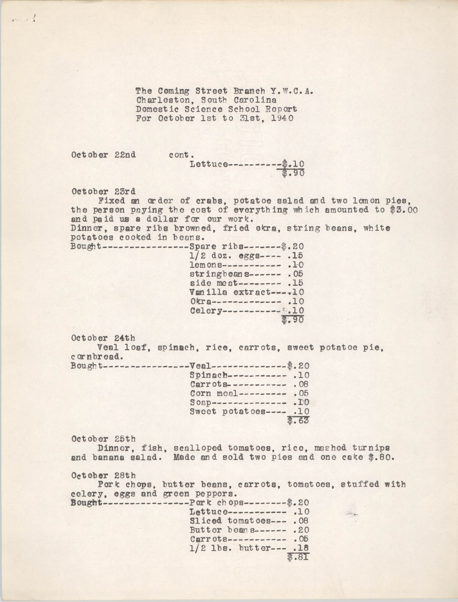 Monthly Report for the Coming Street Y.W.C.A., Domestic Science School, October 1940, Page 5