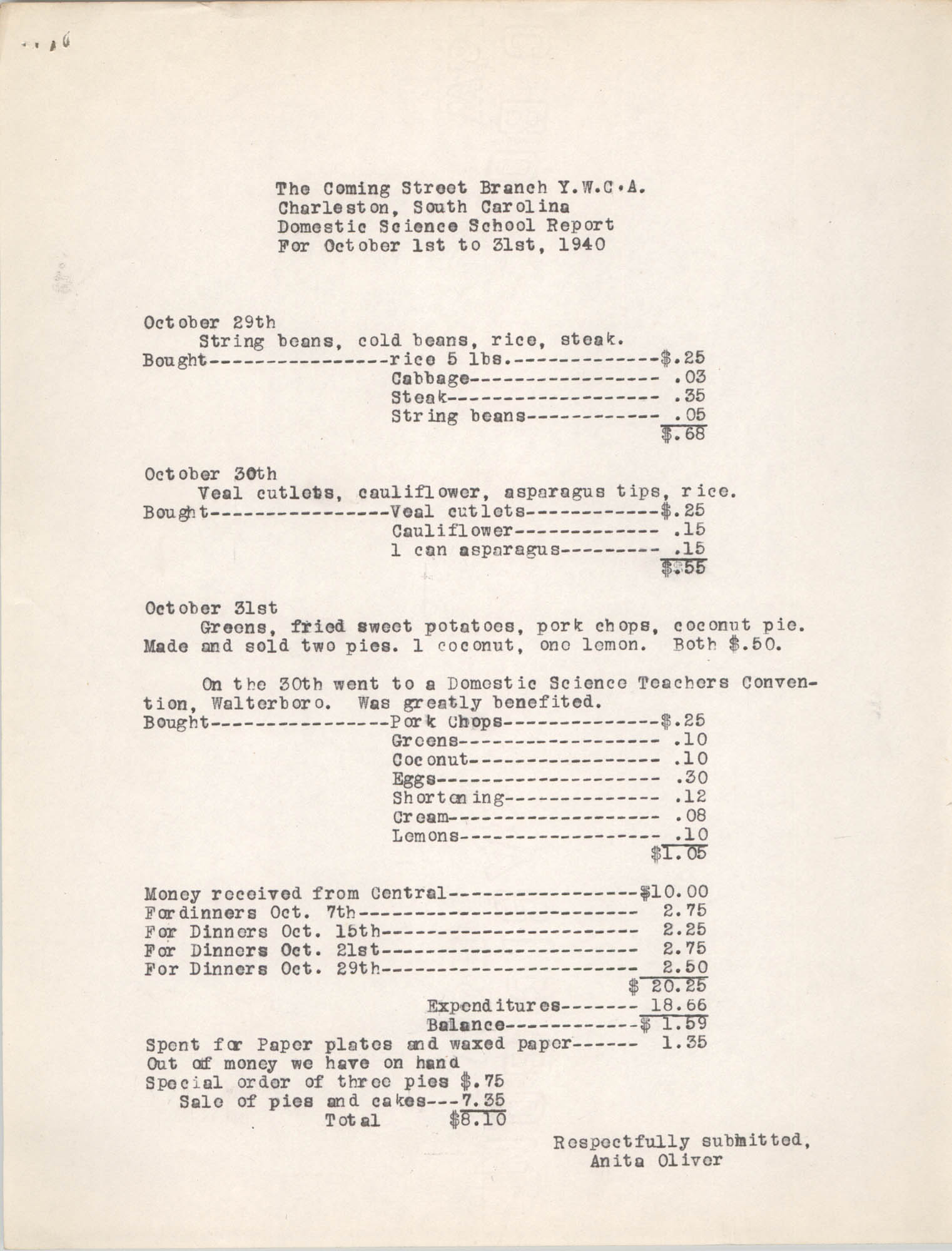 Monthly Report for the Coming Street Y.W.C.A., Domestic Science School, October 1940, Page 6