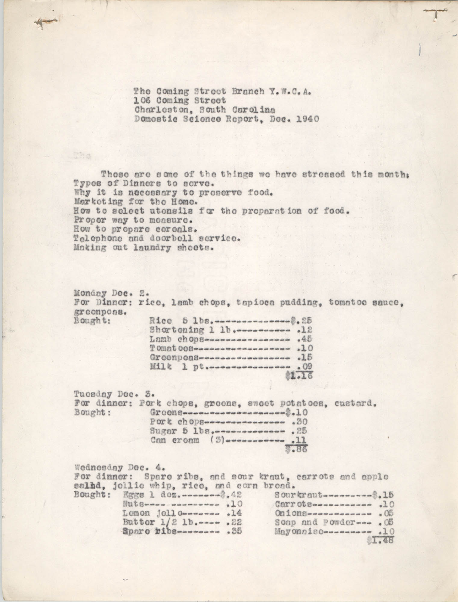 Monthly Report for the Coming Street Y.W.C.A., Domestic Science School, September 1940, Page 1