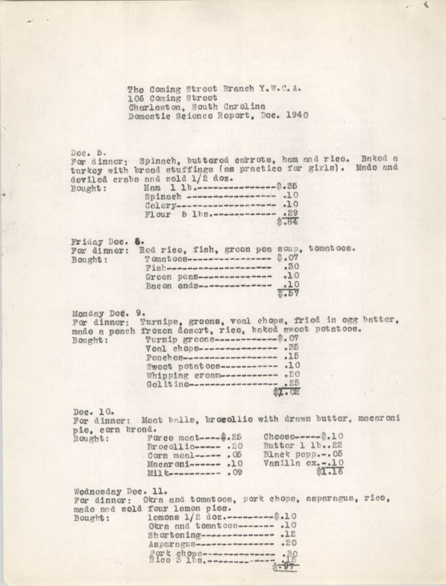 Monthly Report for the Coming Street Y.W.C.A., Domestic Science School, September 1940, Page 2