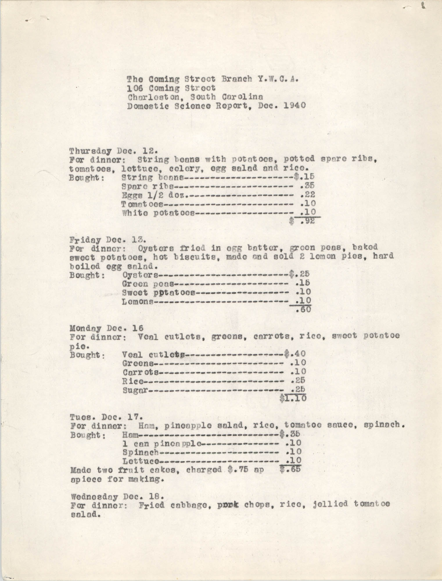 Monthly Report for the Coming Street Y.W.C.A., Domestic Science School, September 1940, Page 3
