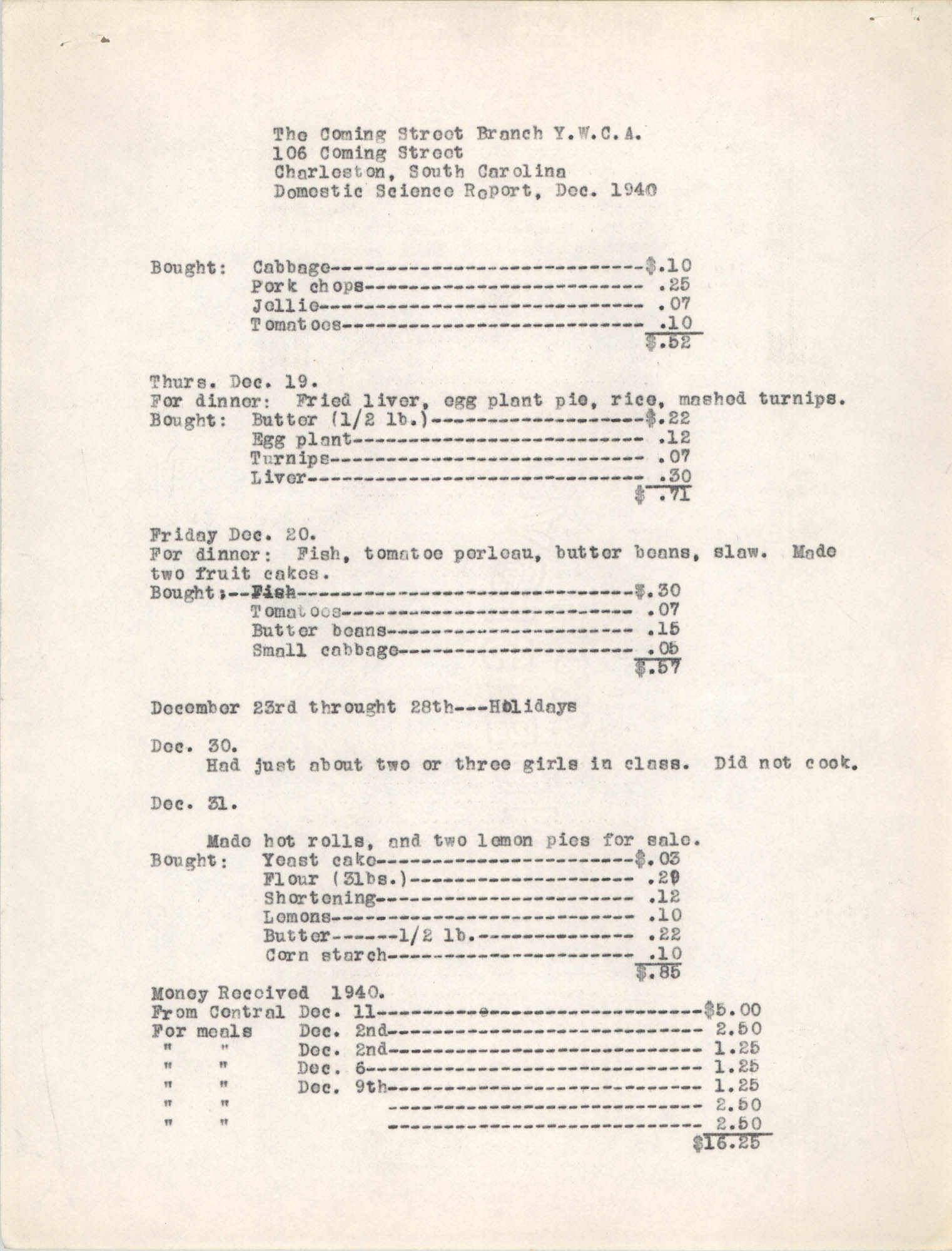 Monthly Report for the Coming Street Y.W.C.A., Domestic Science School, September 1940, Page 4