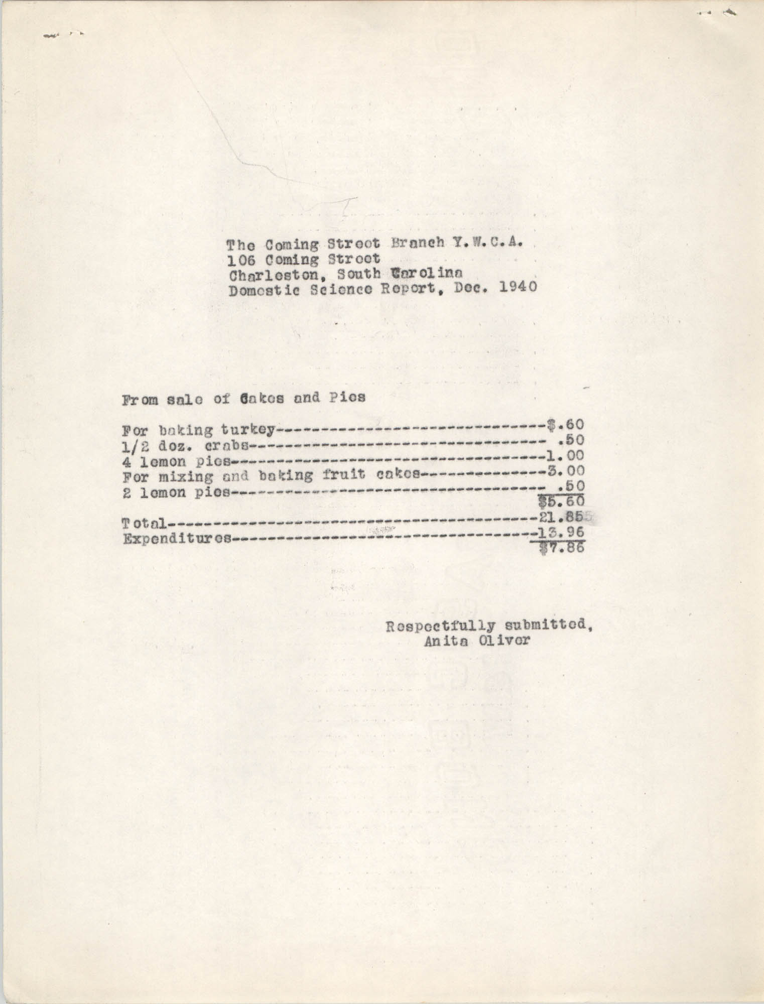 Monthly Report for the Coming Street Y.W.C.A., Domestic Science School, September 1940, Page 5