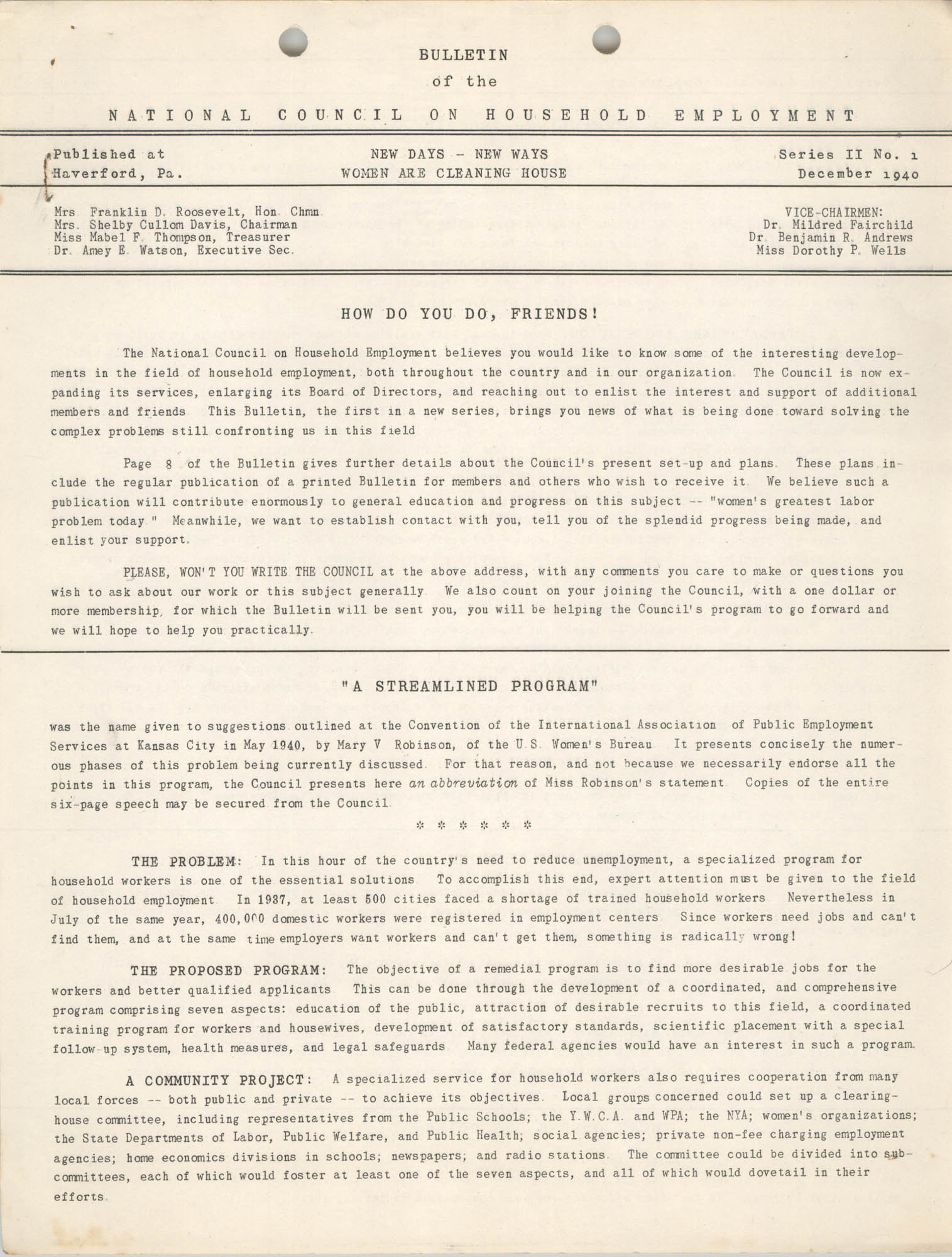 Bulletin of the National Council on Household Employment, Series II, No. 1, December 1940, Page 1