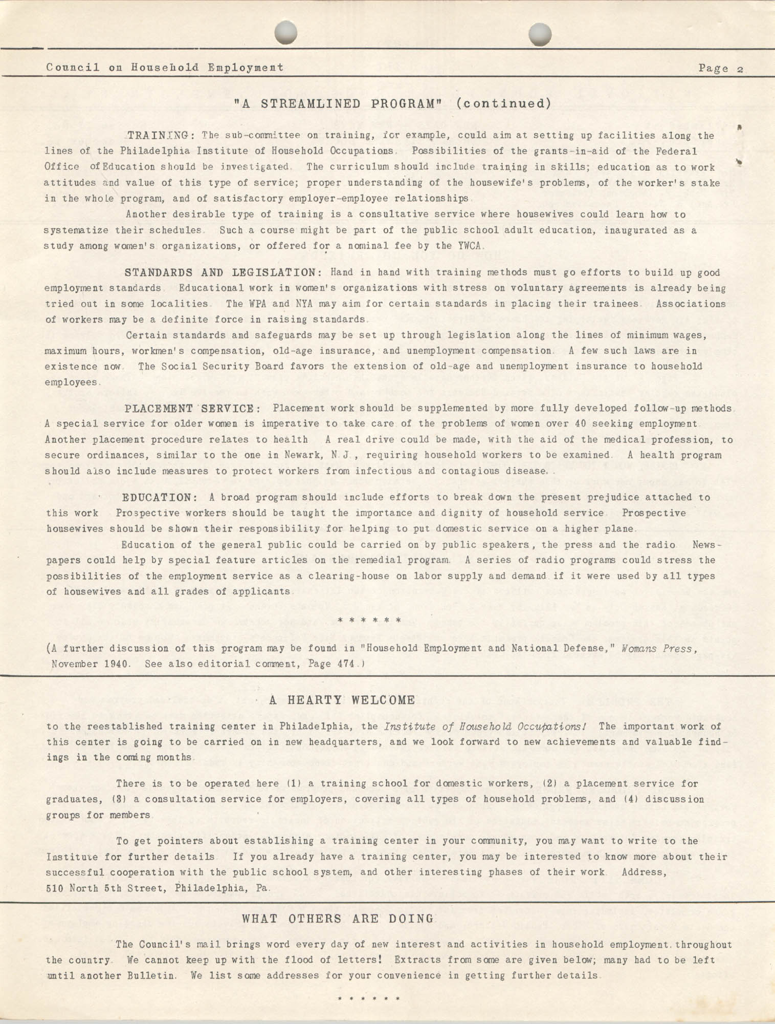 Bulletin of the National Council on Household Employment, Series II, No. 1, December 1940, Page 2
