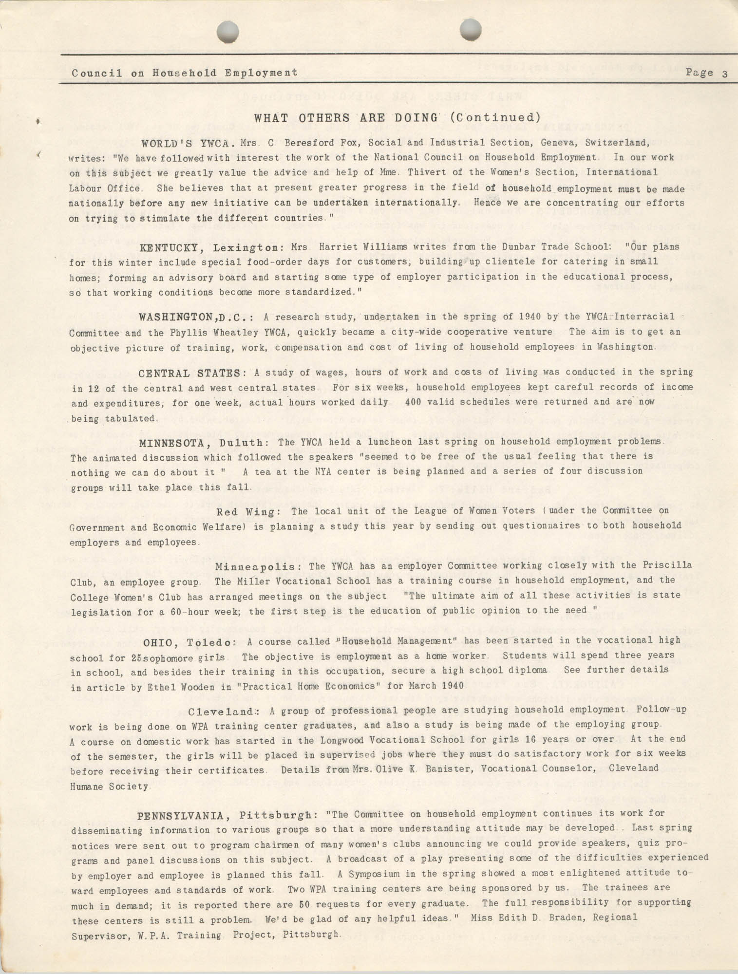 Bulletin of the National Council on Household Employment, Series II, No. 1, December 1940, Page 3