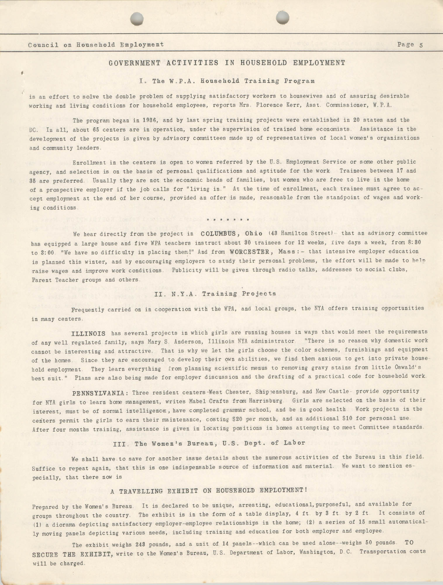 Bulletin of the National Council on Household Employment, Series II, No. 1, December 1940, Page 5