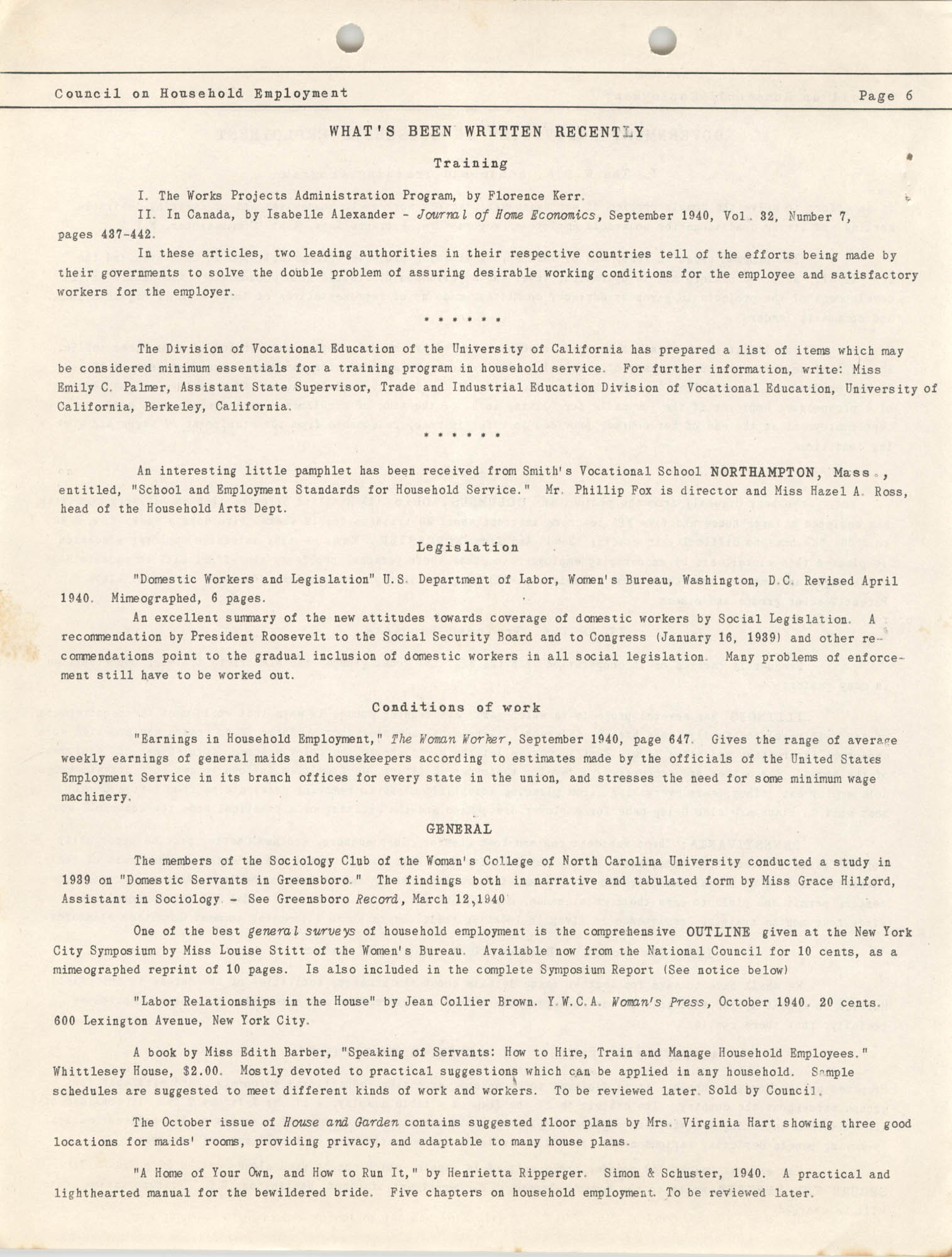 Bulletin of the National Council on Household Employment, Series II, No. 1, December 1940, Page 6