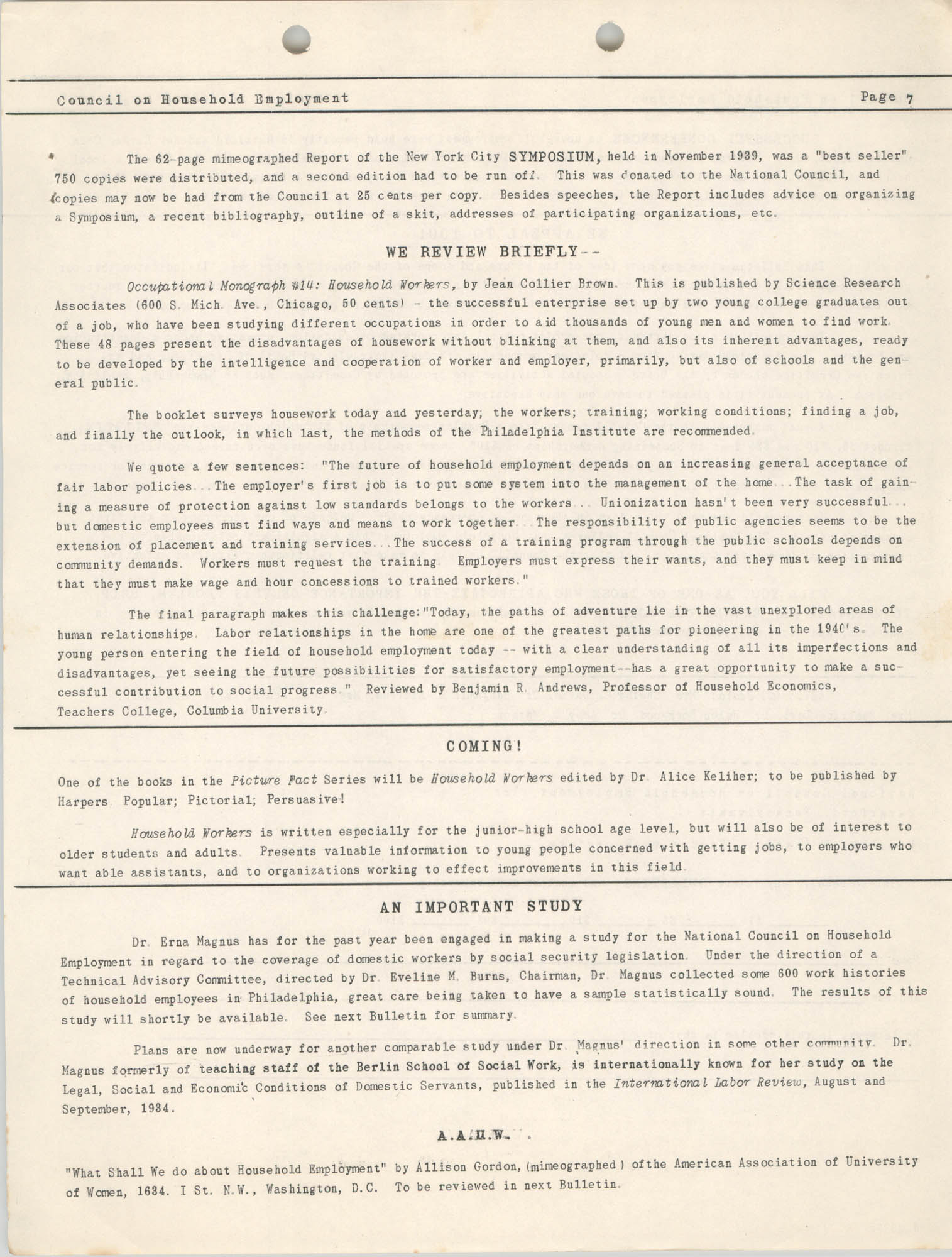 Bulletin of the National Council on Household Employment, Series II, No. 1, December 1940, Page 7