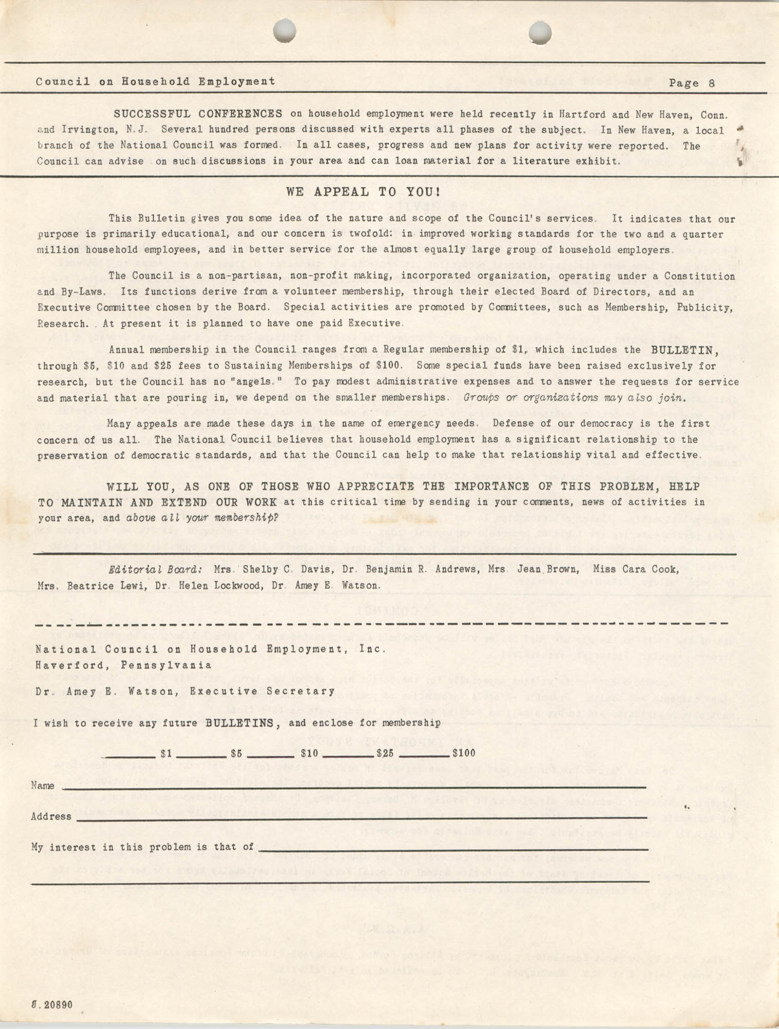 Bulletin of the National Council on Household Employment, Series II, No. 1, December 1940, Page 8