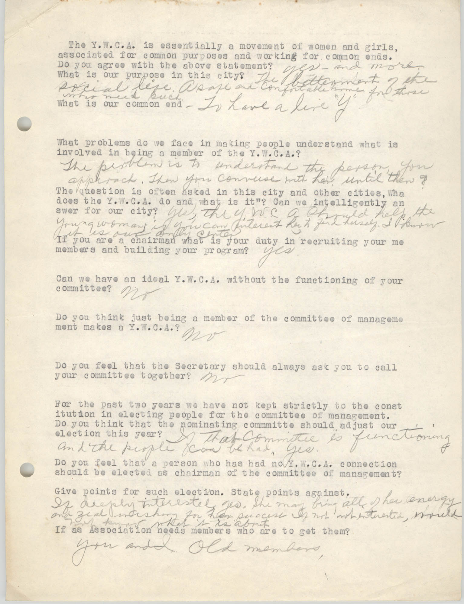 Coming Street Y.W.C.A., Completed Questionnaire Number 1, Page 1