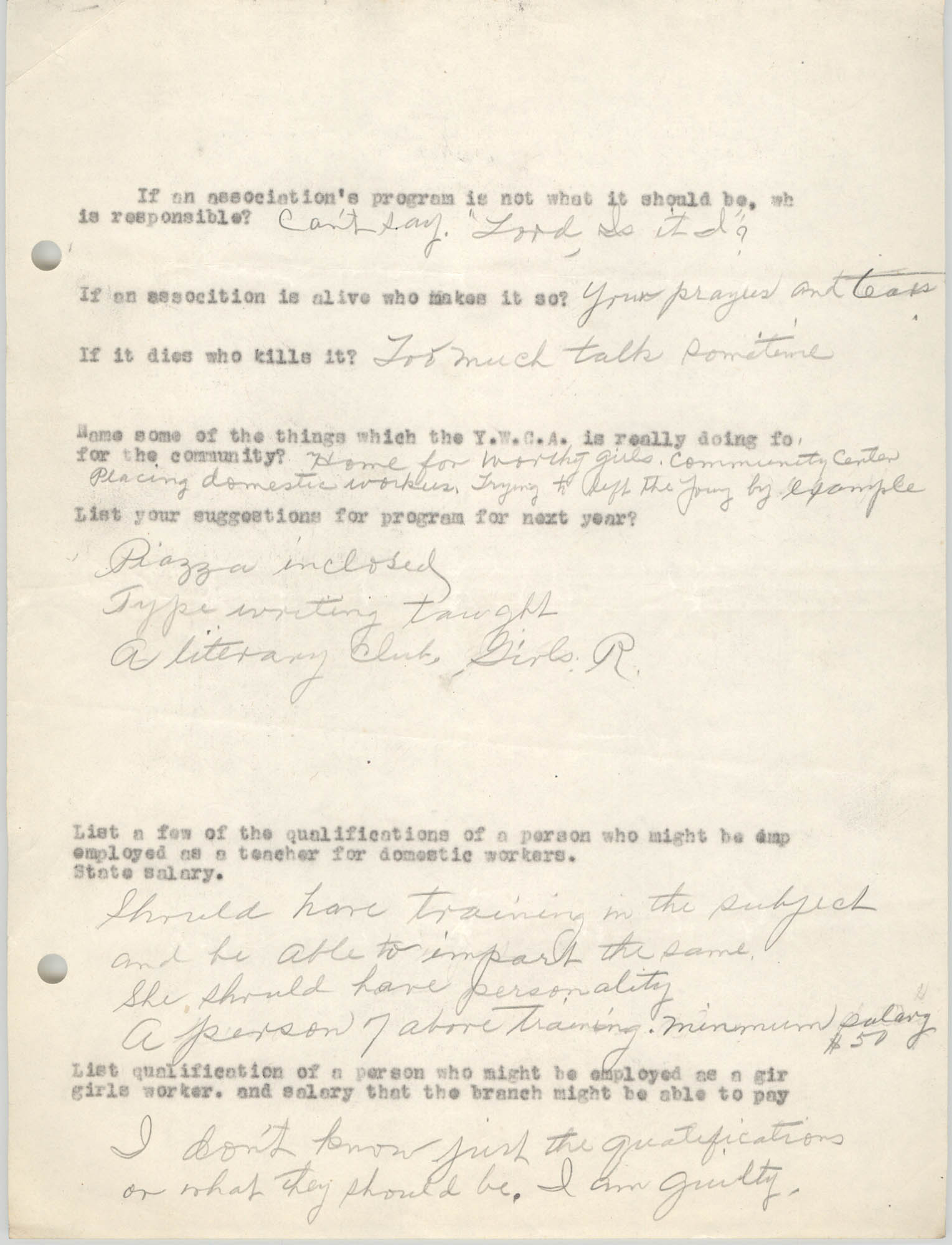 Coming Street Y.W.C.A., Completed Questionnaire Number 1, Page 2