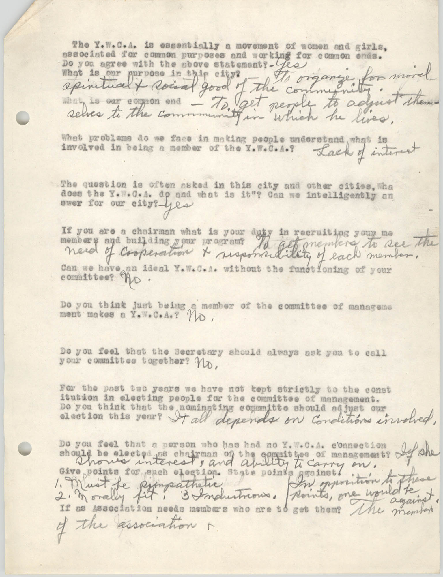 Coming Street Y.W.C.A., Completed Questionnaire Number 2, Page 1