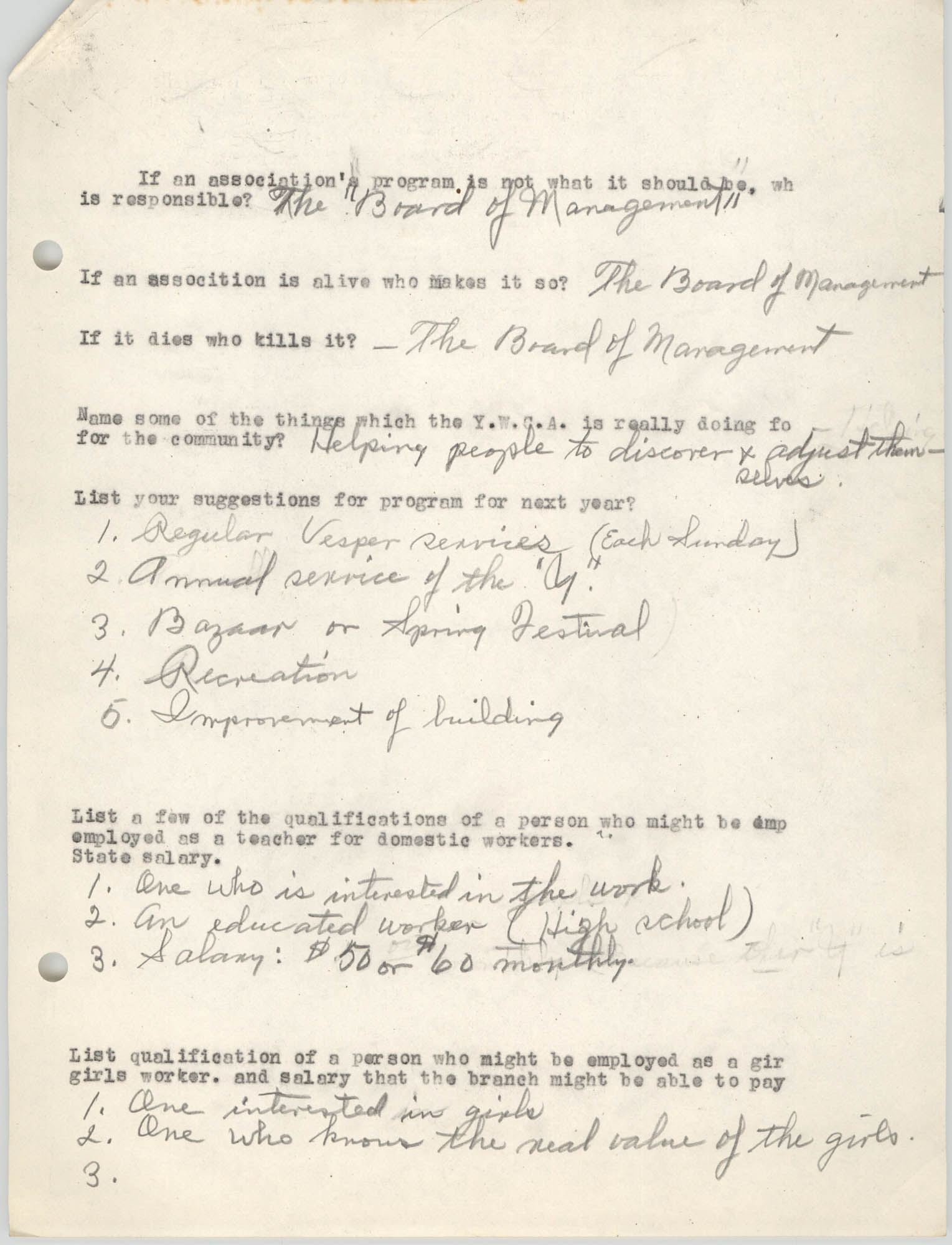 Coming Street Y.W.C.A., Completed Questionnaire Number 2, Page 2