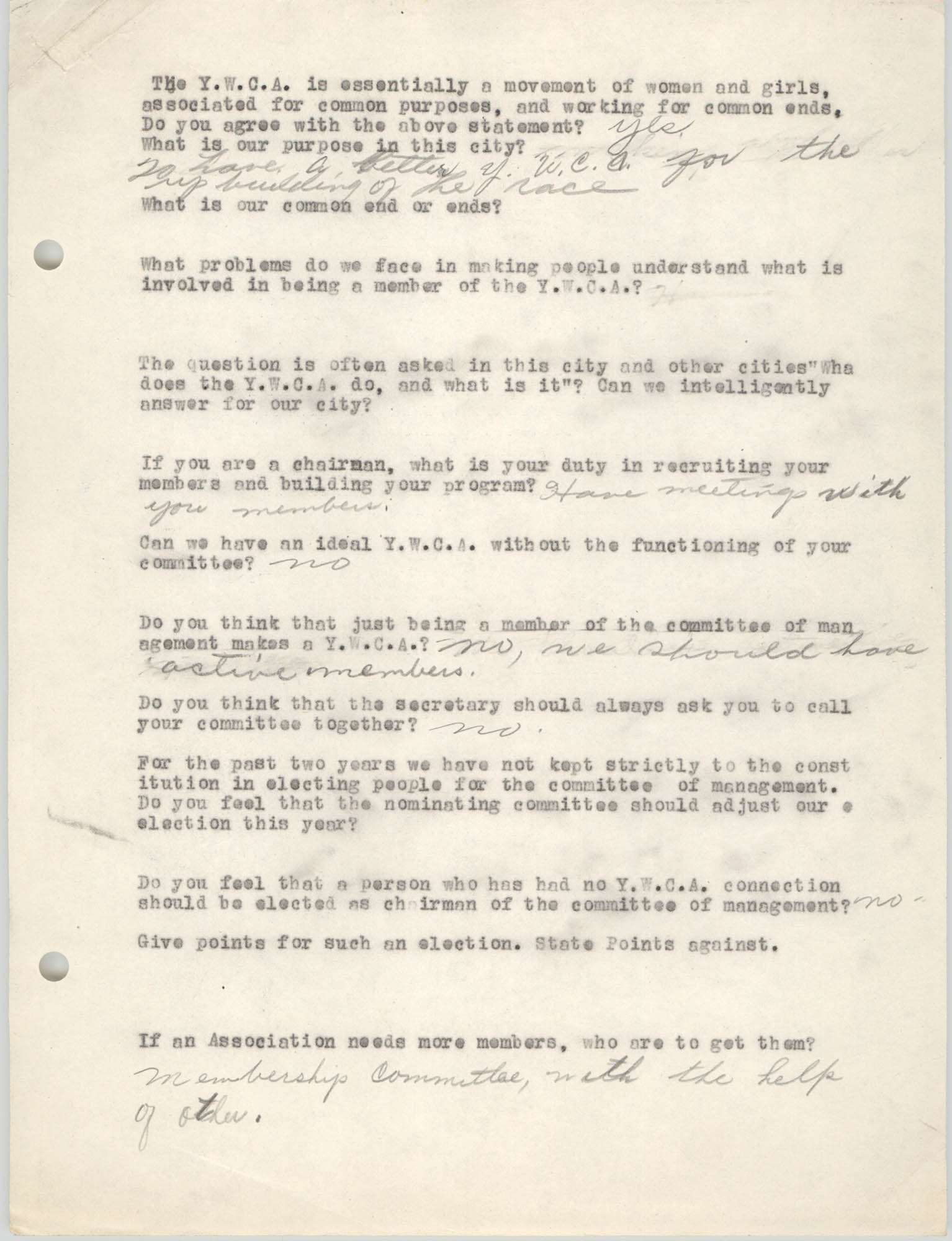 Coming Street Y.W.C.A., Completed Questionnaire Number 3, Page 1