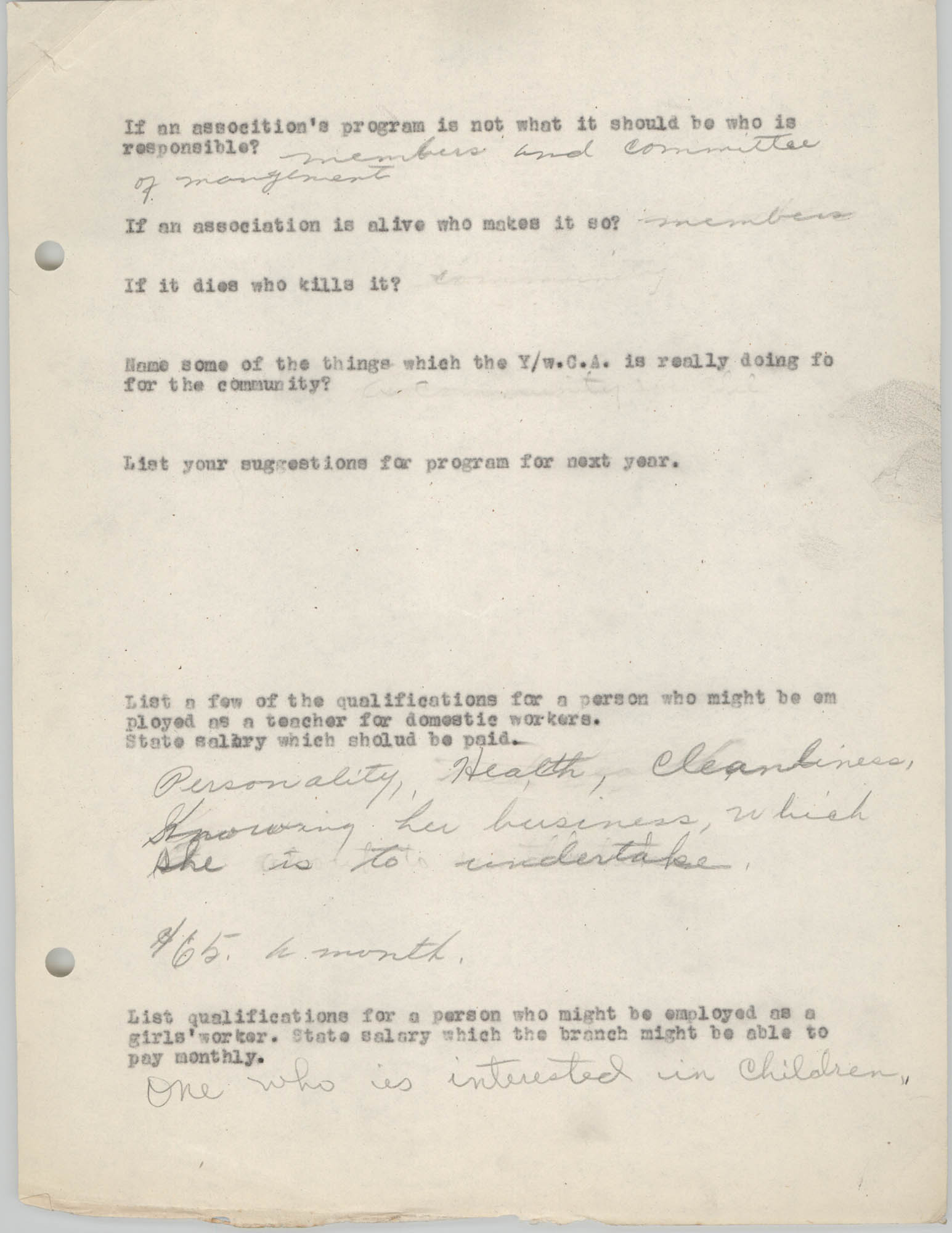 Coming Street Y.W.C.A., Completed Questionnaire Number 3, Page 2