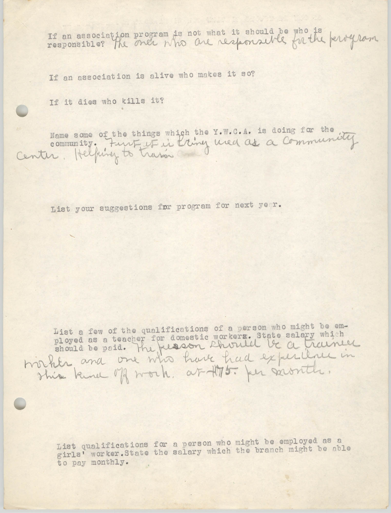 Coming Street Y.W.C.A., Completed Questionnaire Number 4, Page 2