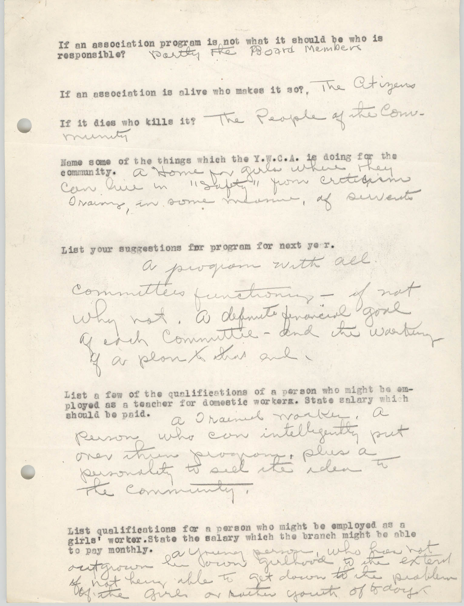 Coming Street Y.W.C.A., Completed Questionnaire Number 5, Page 2