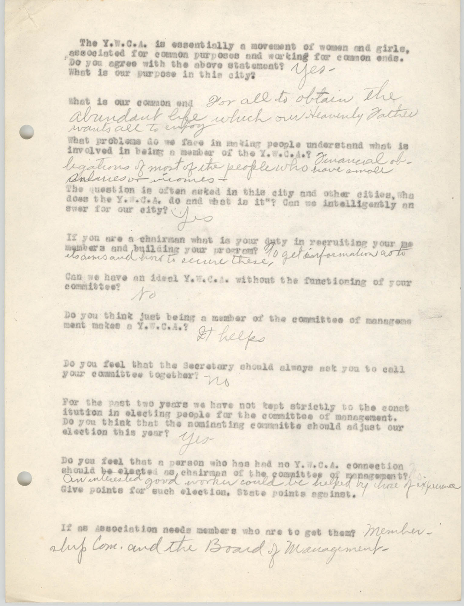 Coming Street Y.W.C.A., Completed Questionnaire Number 6, Page 1