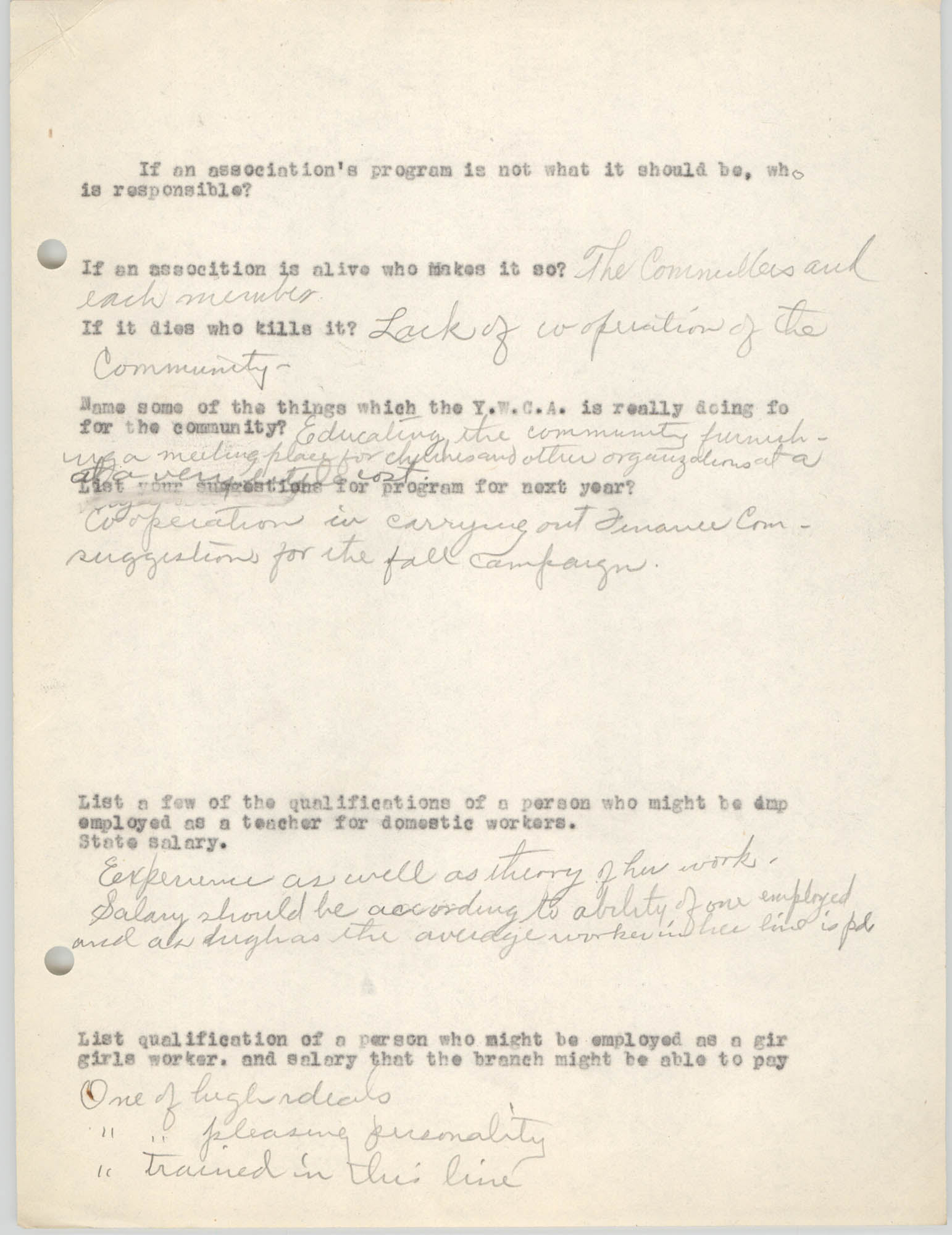 Coming Street Y.W.C.A., Completed Questionnaire Number 6, Page 2