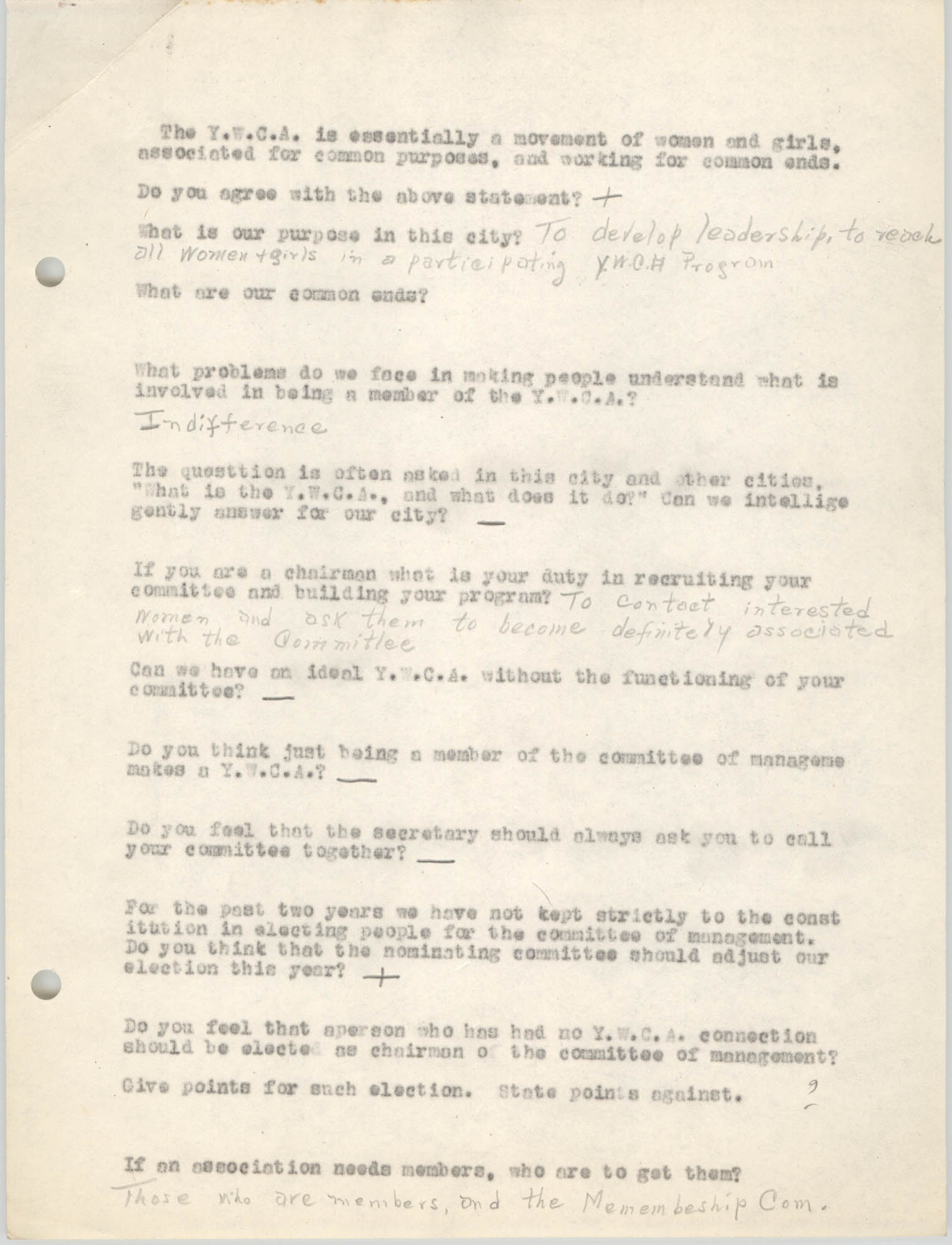 Coming Street Y.W.C.A., Completed Questionnaire Number 7, Page 1