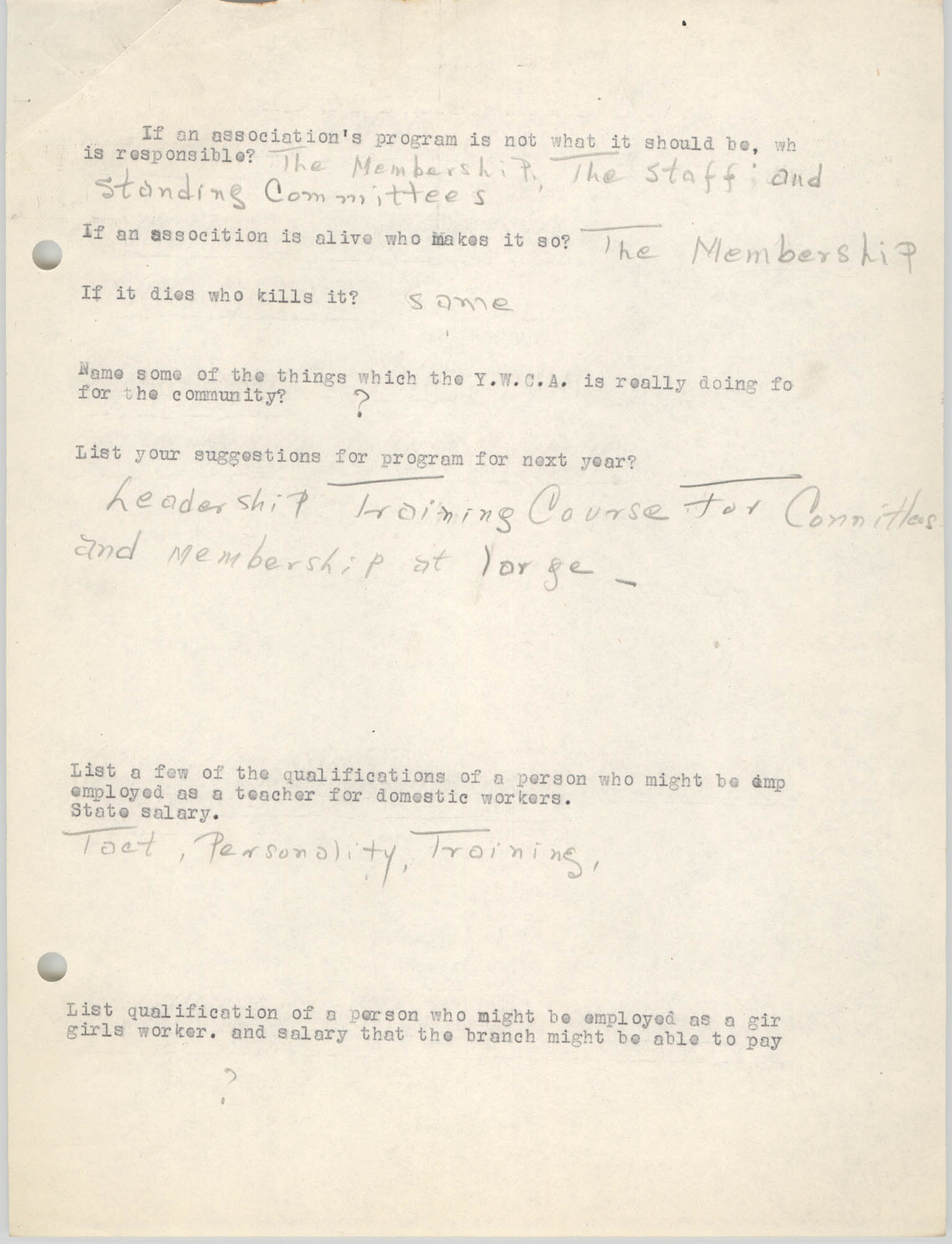Coming Street Y.W.C.A., Completed Questionnaire Number 7, Page 2